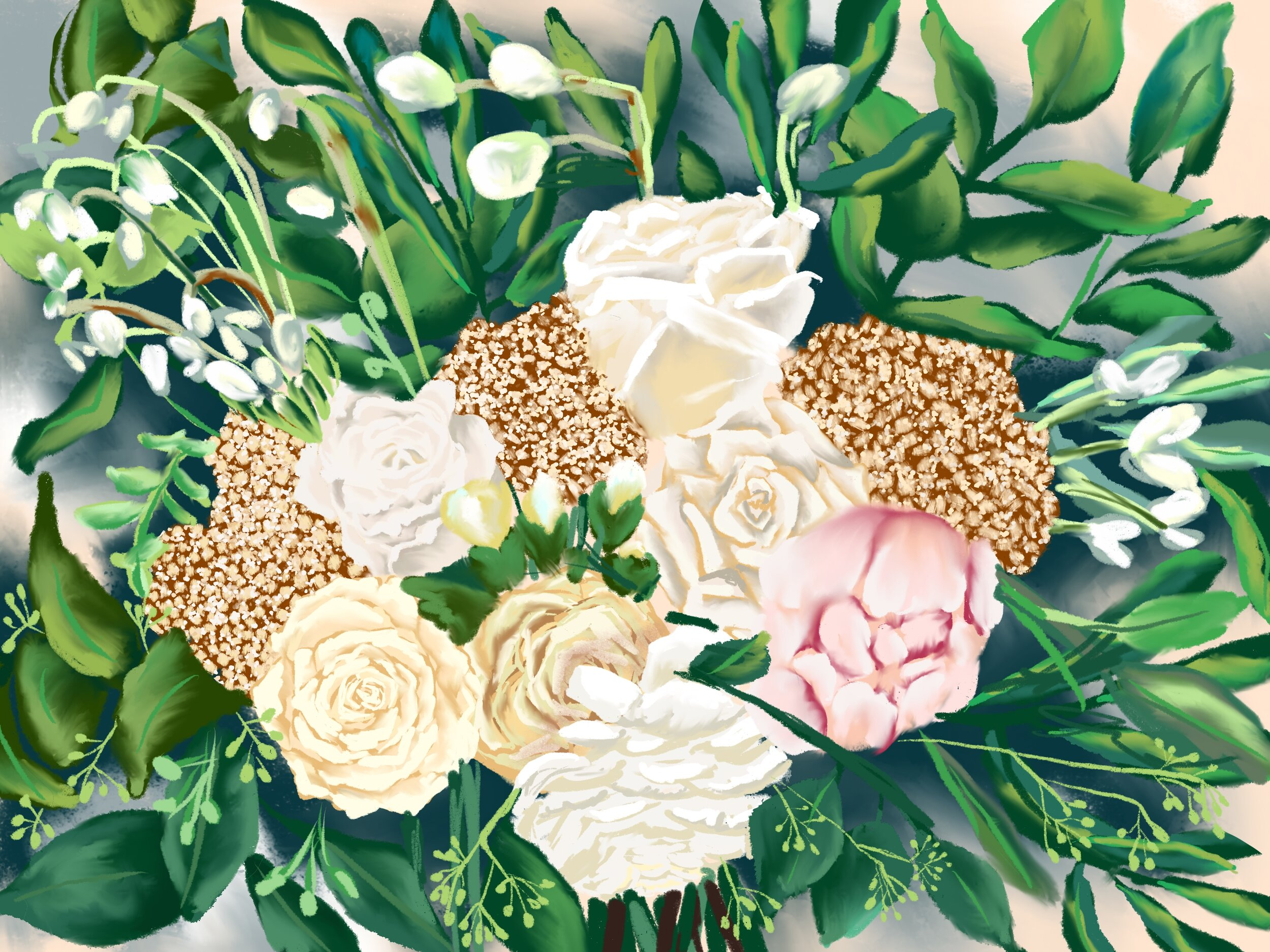 Custom Bridal Bouquet  - This custom illustration was done to commemorate the couples wedding day. Bridal bouquets can be created in watercolor or digital formats.