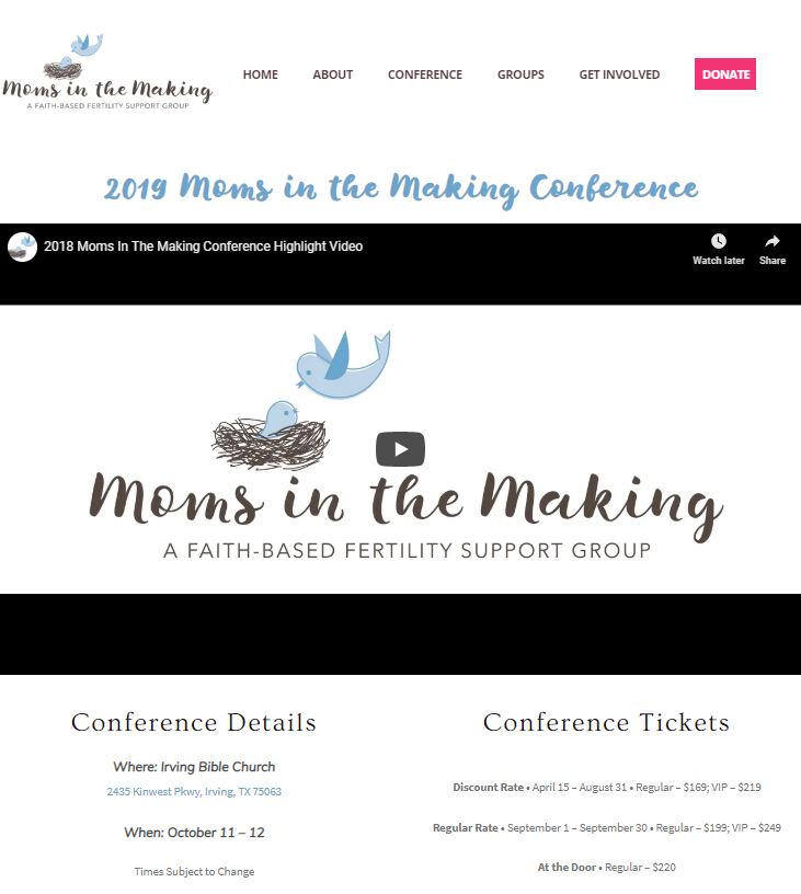2019 Moms in the making conference - Click HERE for more information about the 3rd annual Moms in the Making conference! The conference will take place on October 11-12, 2019 in Irving, TX. I can't say enough about this conference and this ministry. If you're walking through infertility, you need to be at this conference. Bottom line! I'll save you a seat!