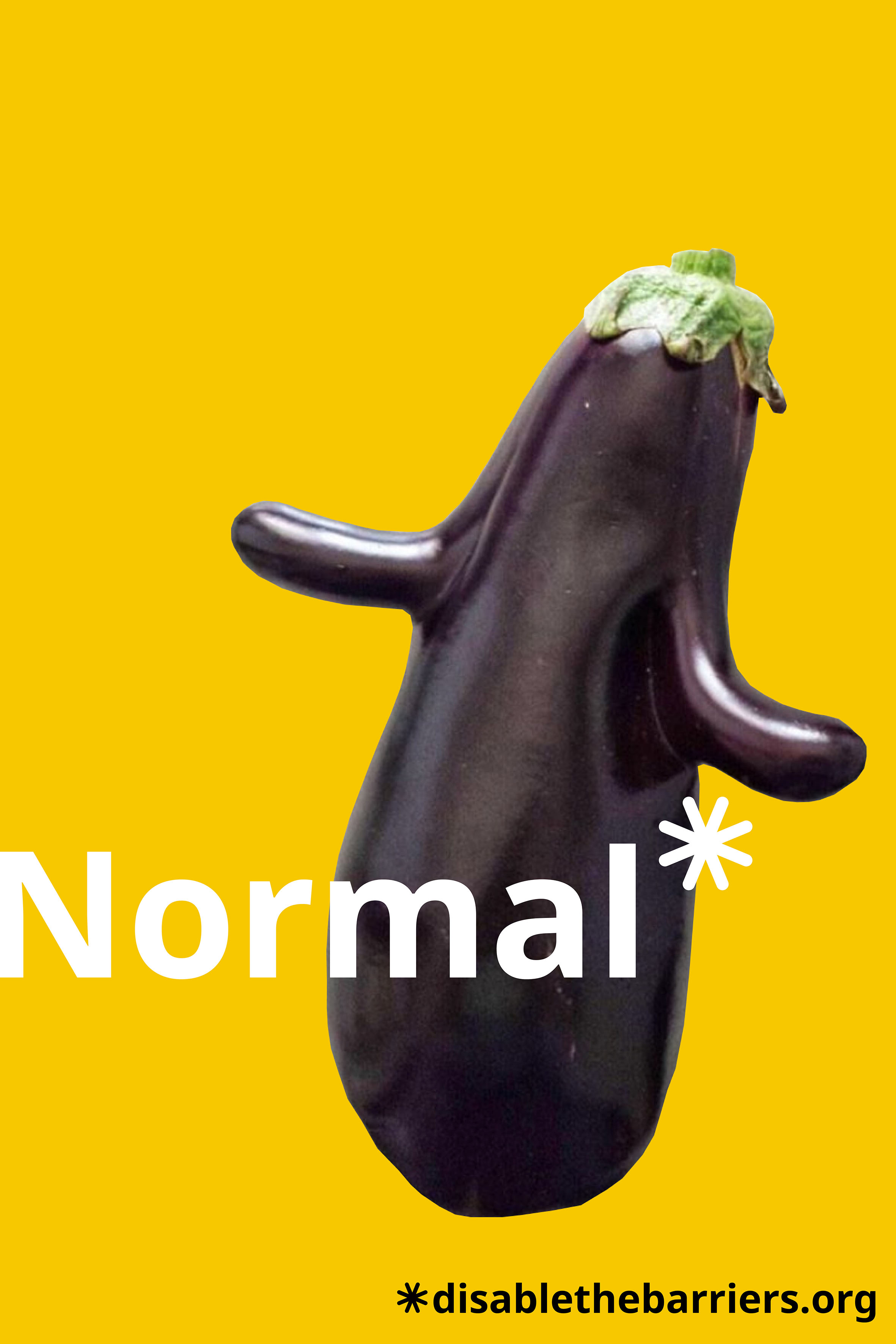 "Poster displaying the word ""Normal"" over an eggplant that has two protuberances on its sides."