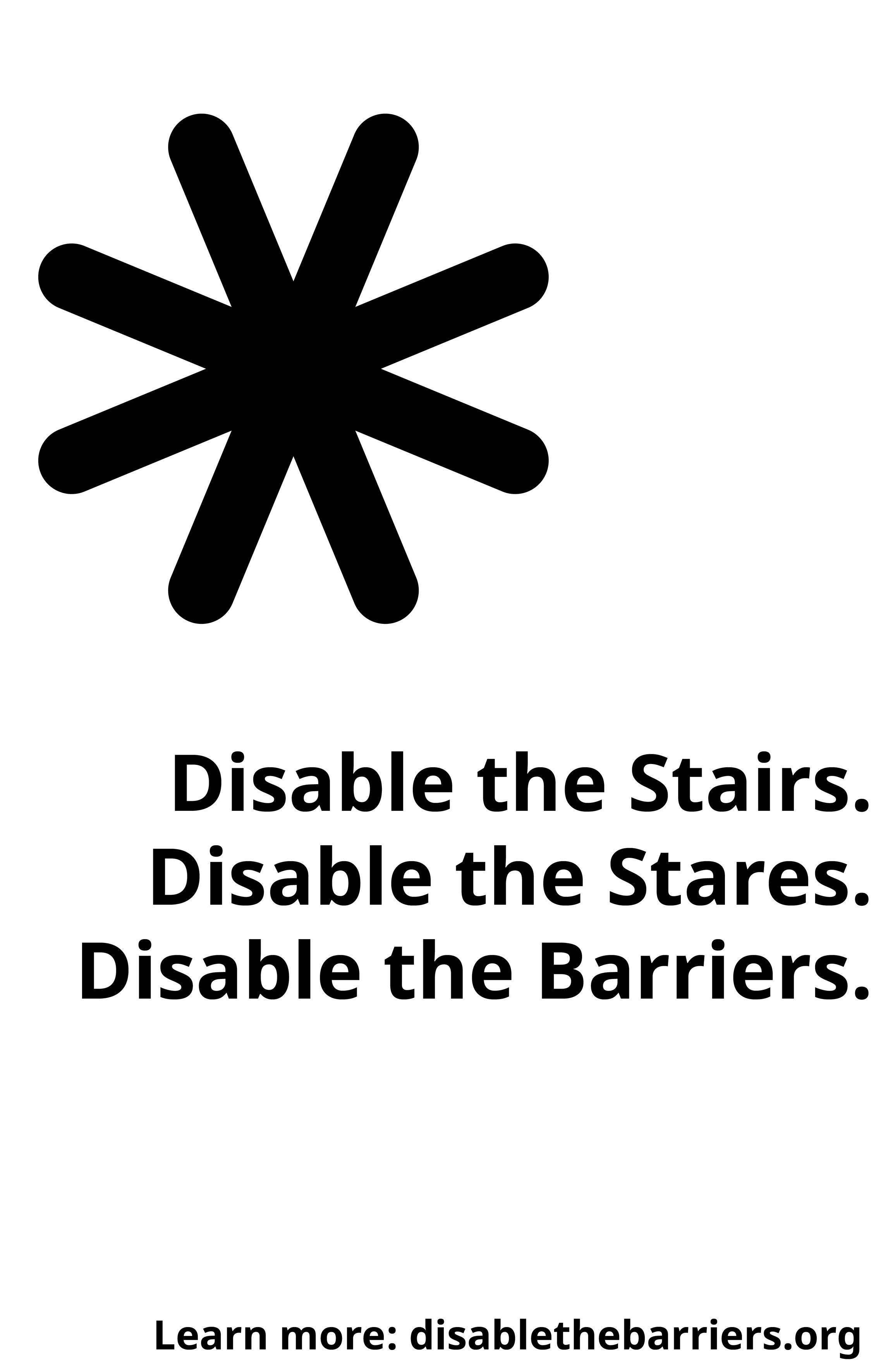 Poster displaying the Disable the Barriers slogan, tagline and URL, over a full white background.