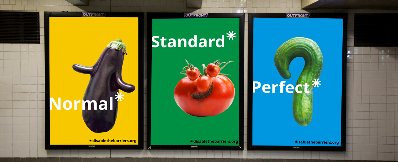 "Mockup photo of three posters featuring fruits and the words ""normal"", ""standard"", and ""perfect"", displayed in a subway station."