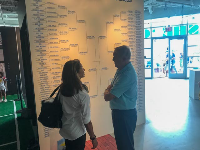 Jeanne Moutoussamy-Ashe and Donald Dell (Arthur's Davis Cup captain, agent, lawyer and great friend, check out the 1968 US Open mens' draw, reproduced by designer Bill Sullivan, which was a huge hit amongst Tennis aficionados.
