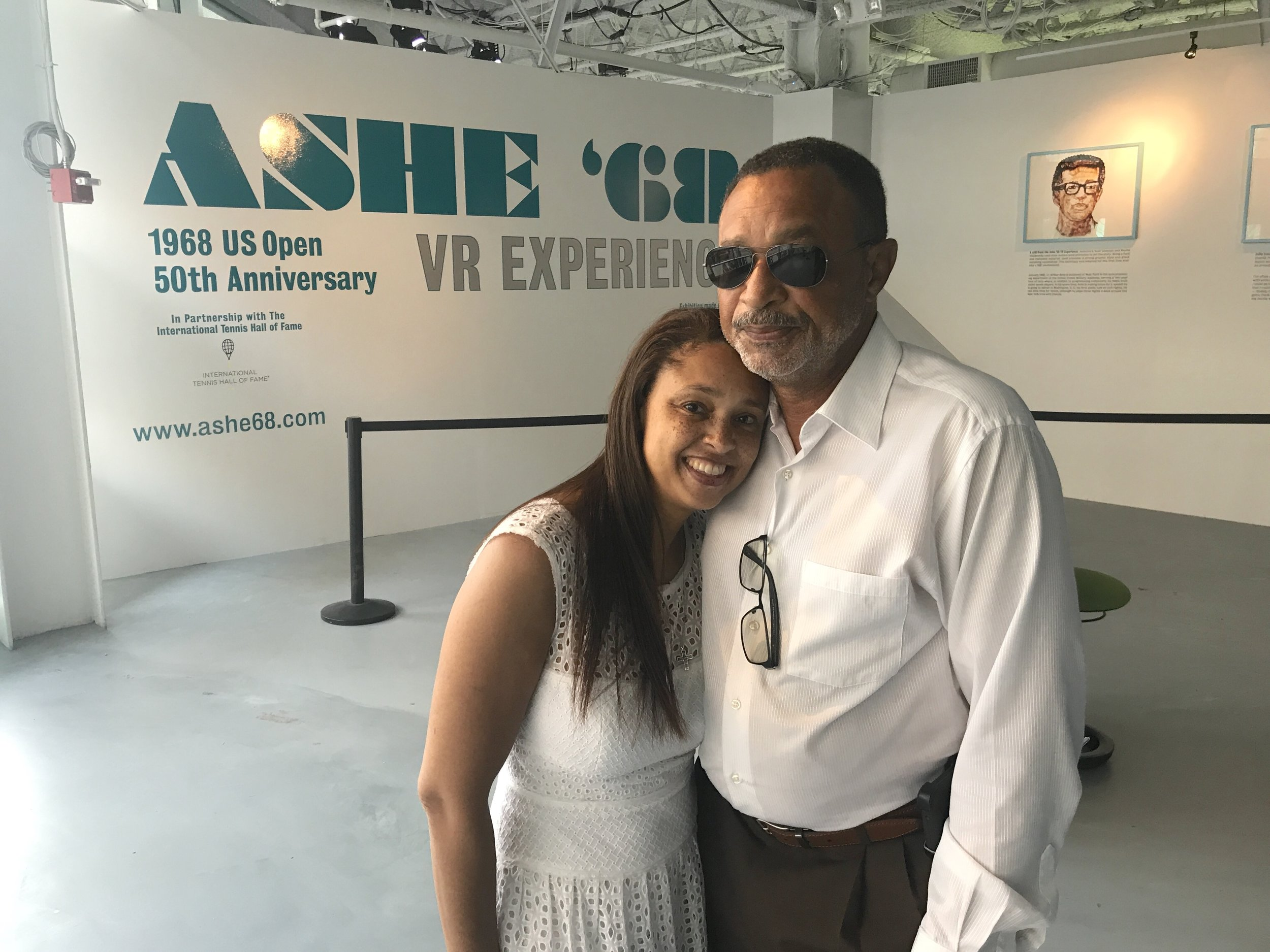 Johnnie Ashe (r), Arthur's brother and his daughter Luchia Ashe, at the 2018 US Open Virtual Reality installation.