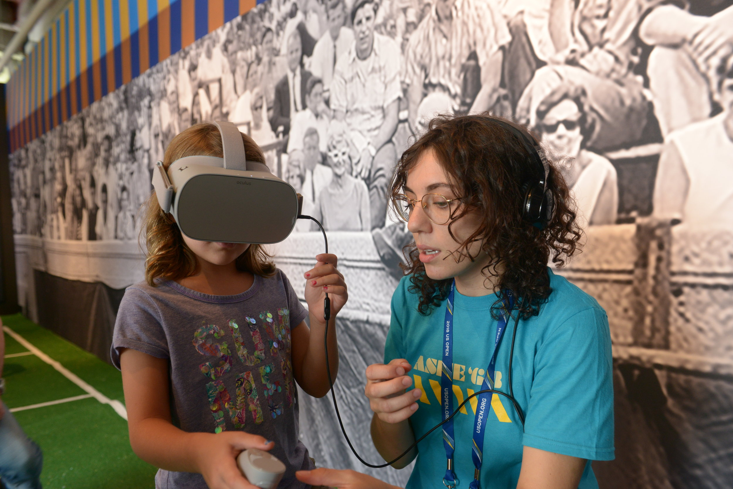 At the 2018 US Open, a young one experiencing the Ashe 68 VR