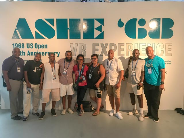 Ashe 68 colleague Glenn Gilliam, right, was a tremendous help at the VR exhibition. His network of friends and colleagues who visited included this group of Black Tennis Journalists, all working the Open.