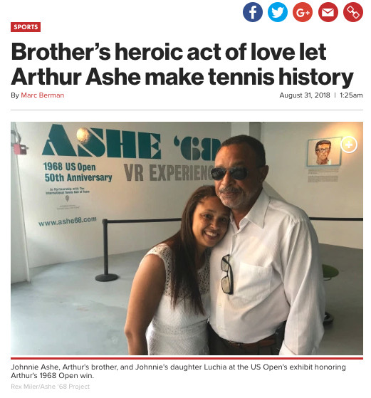 NY Post: - August 31, 2018by Marc BermanVenus and Serena Williams share a close bond despite their ongoing tennis rivalry. Students of the Arthur Ashe legacy, the sisters can still learn something from the mighty brotherly gesture made by Johnnie Ashe in 1967 to his brother Arthur…