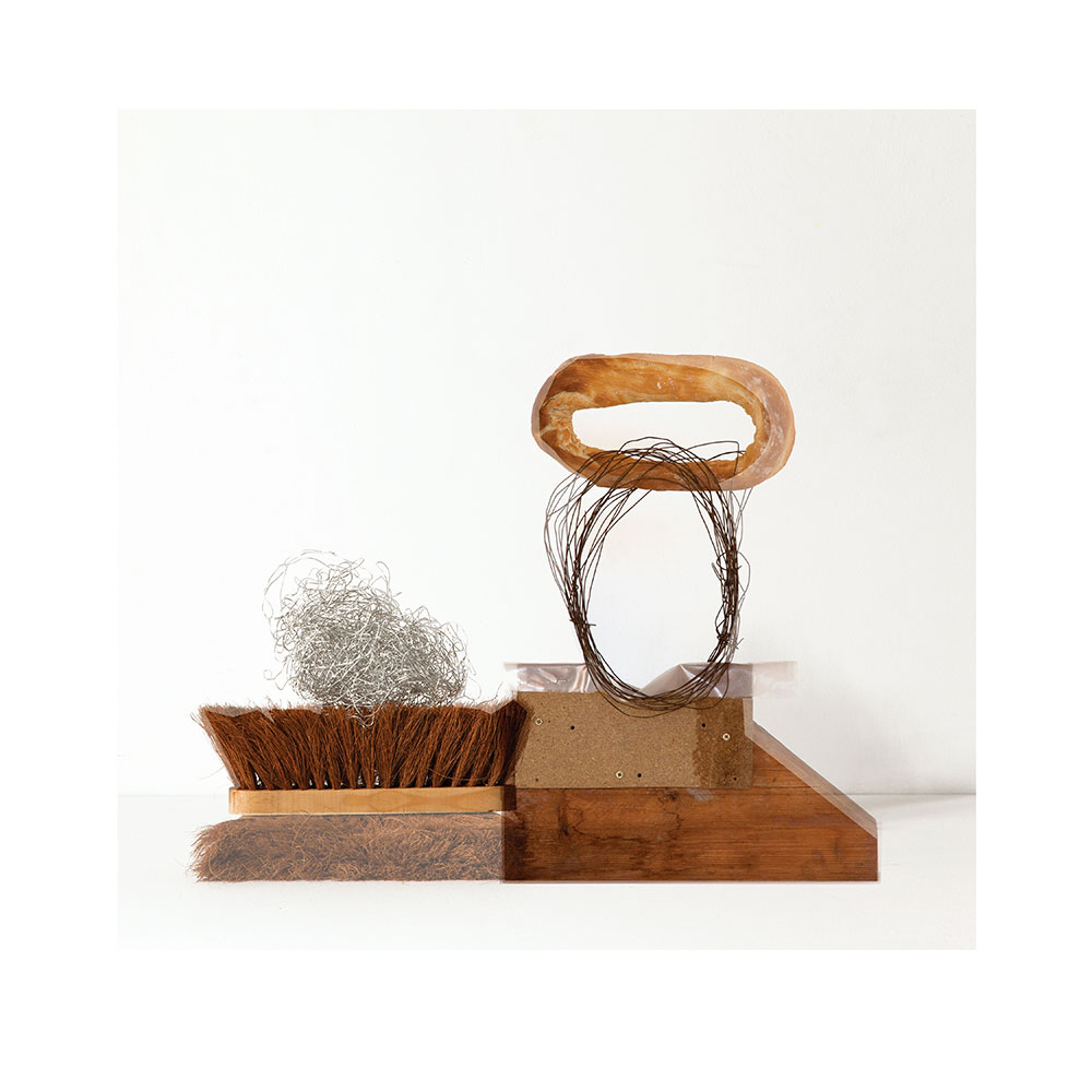 Sculpture (cleaning brush, wire, wood, plastic, bread)