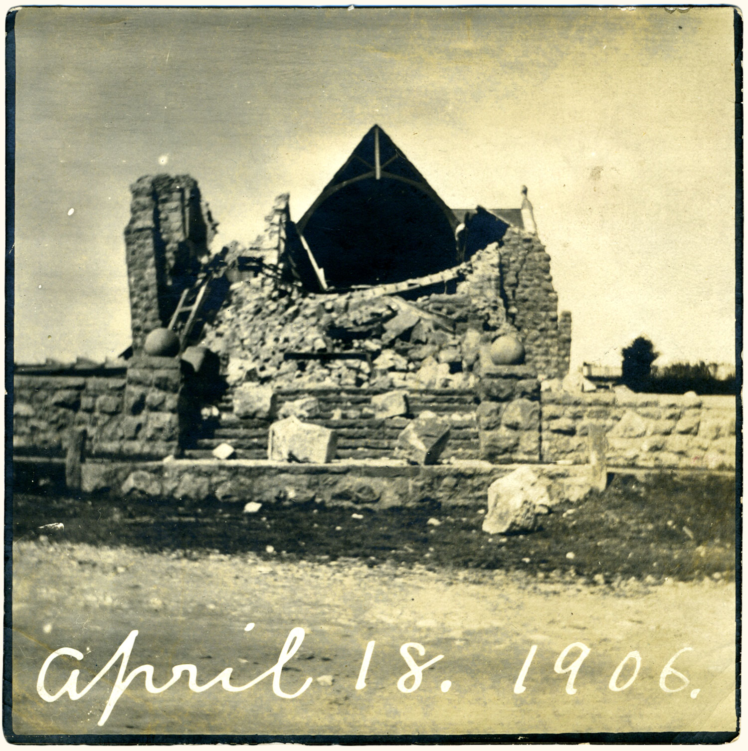 Ruins of the six-year-old stone church, demolished by the 1906 earthquake. (The smaller, wood-frame church built in 1860 still serves its congregation today.) Photo by Ella Jorgensen, circa 1906.