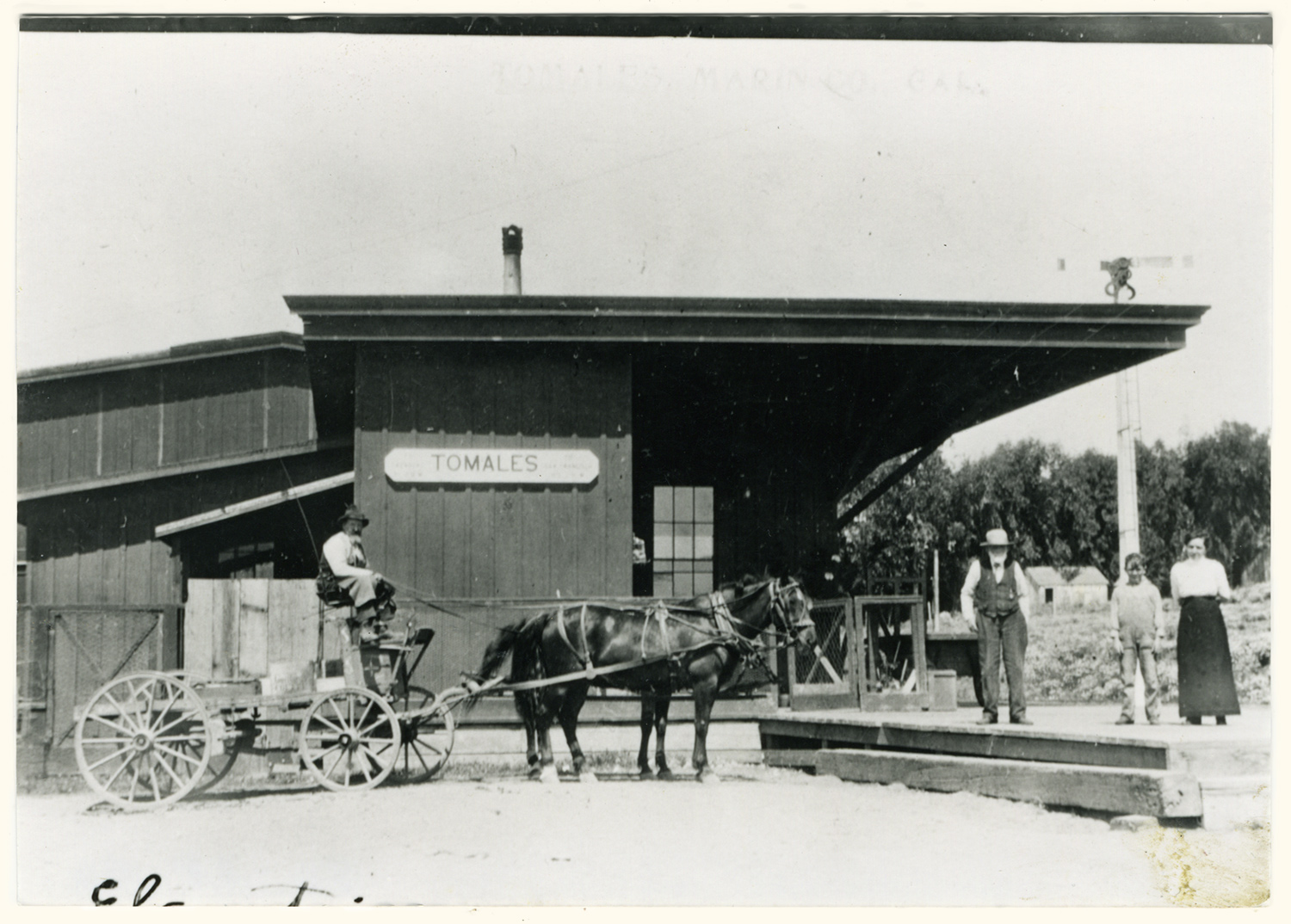 Tomales railroad depot was just west of Carrie Street. Circa 1920 photo by Ella Jorgensen.