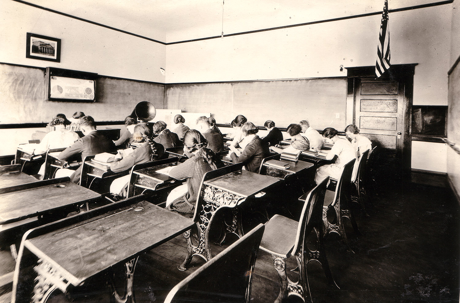 Study Hall at the recently enlarged Tomales High School, 1923.