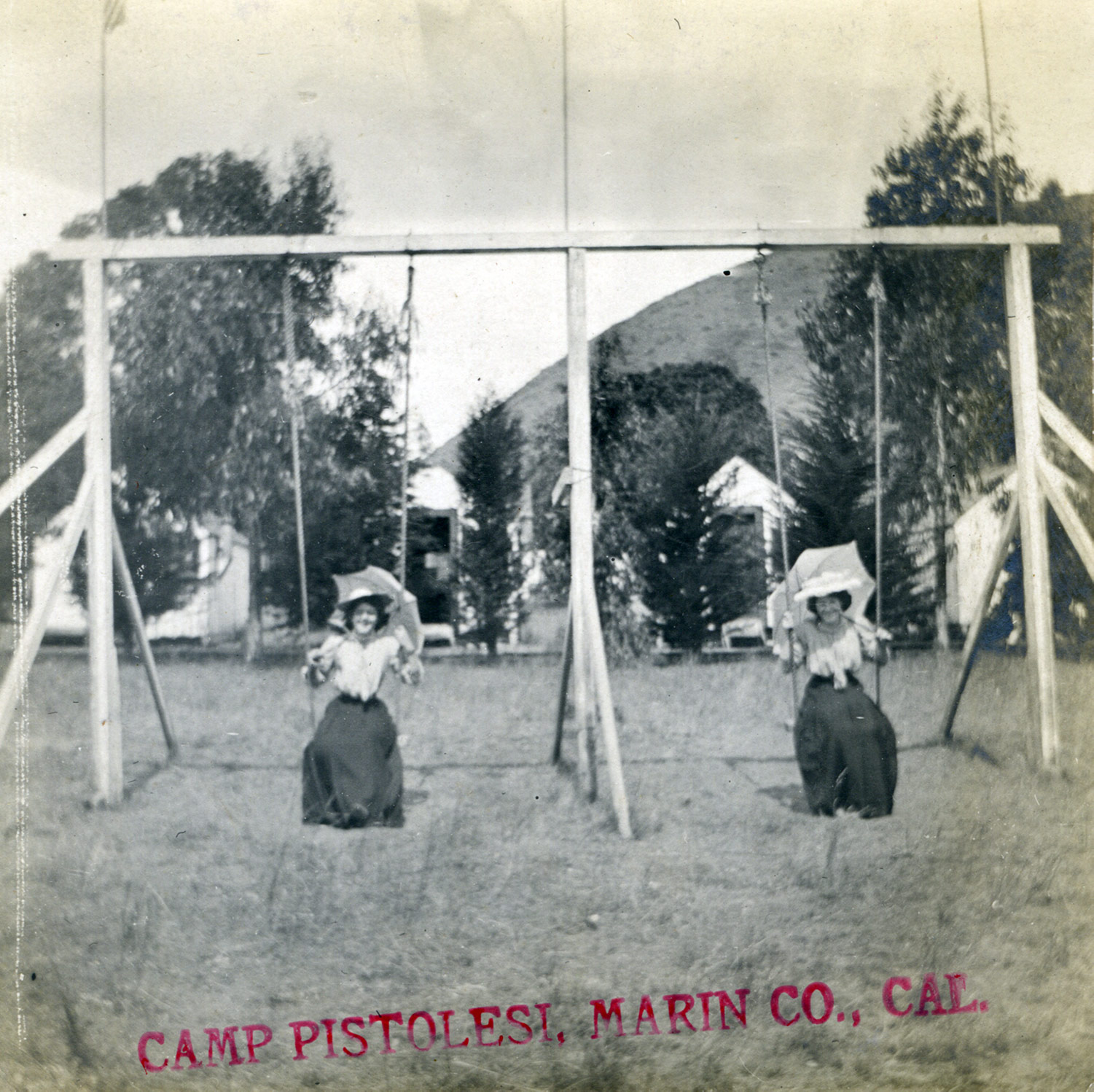 Camp Pistolesi was a small, modest resort across Keys Estuary, just south of Tomales. There was a railroad flag stop here, and tiny cabins. The spot was popular with locals and vacationers alike, apparently the kind of special place that inspired children and adults to enjoy the swing set. Photo by Ella Jorgensen, circa early 20th century.