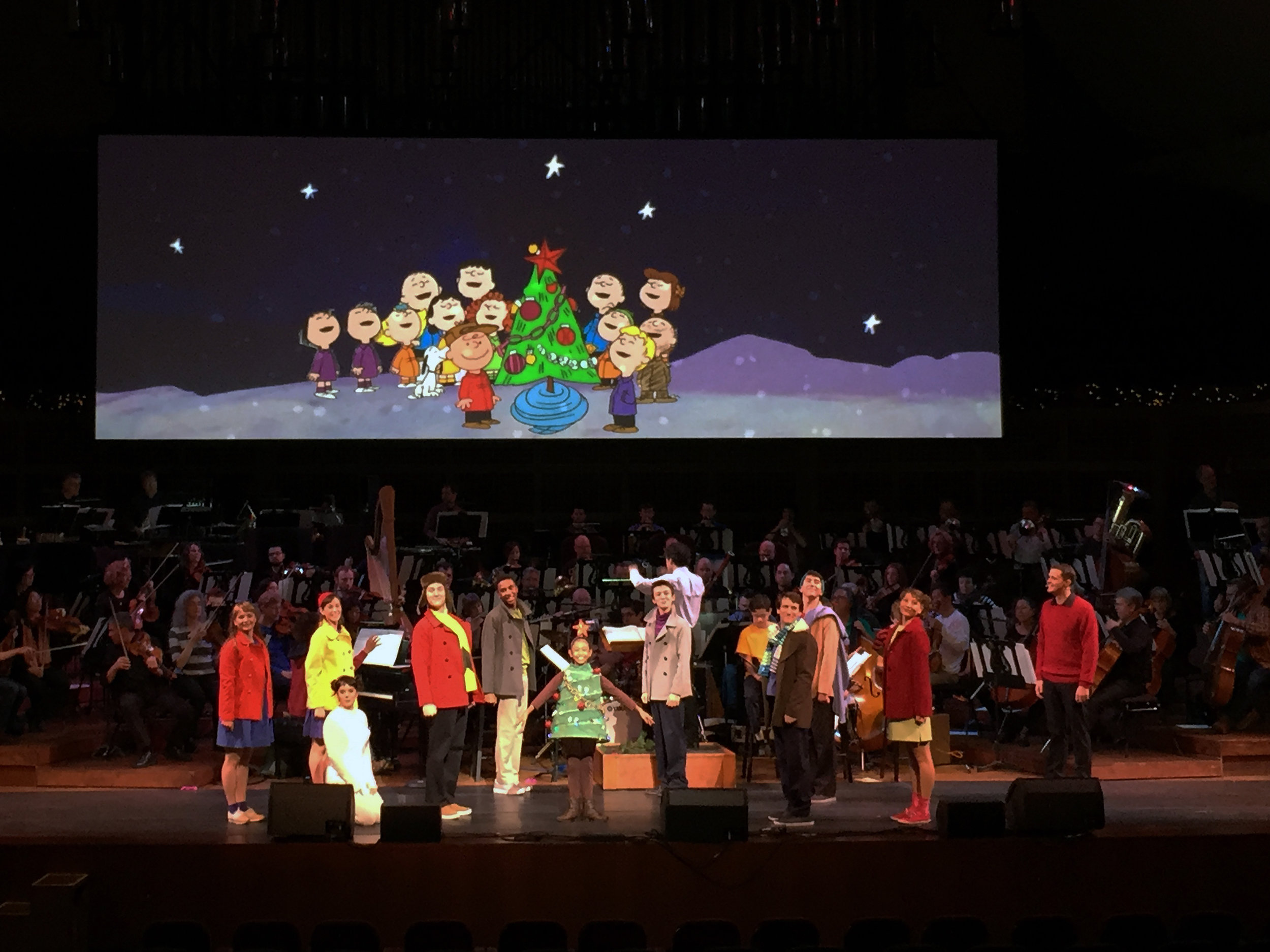 The cast of  A Charlie Brown Christmas  in 2014 with the San Francisco Symphony.