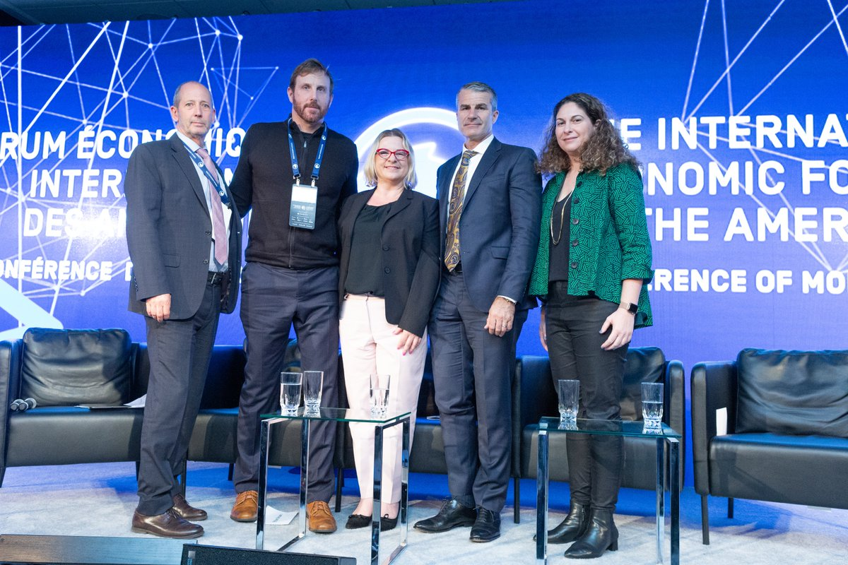 Ken Ash OECD, Ethan Brown Beyond Meat, Claudia Roessler Microsoft, Florian Schattenmann Cargill and Ethy Levy Bridge Hub at the International Forum of the Americas in Montreal - Canada