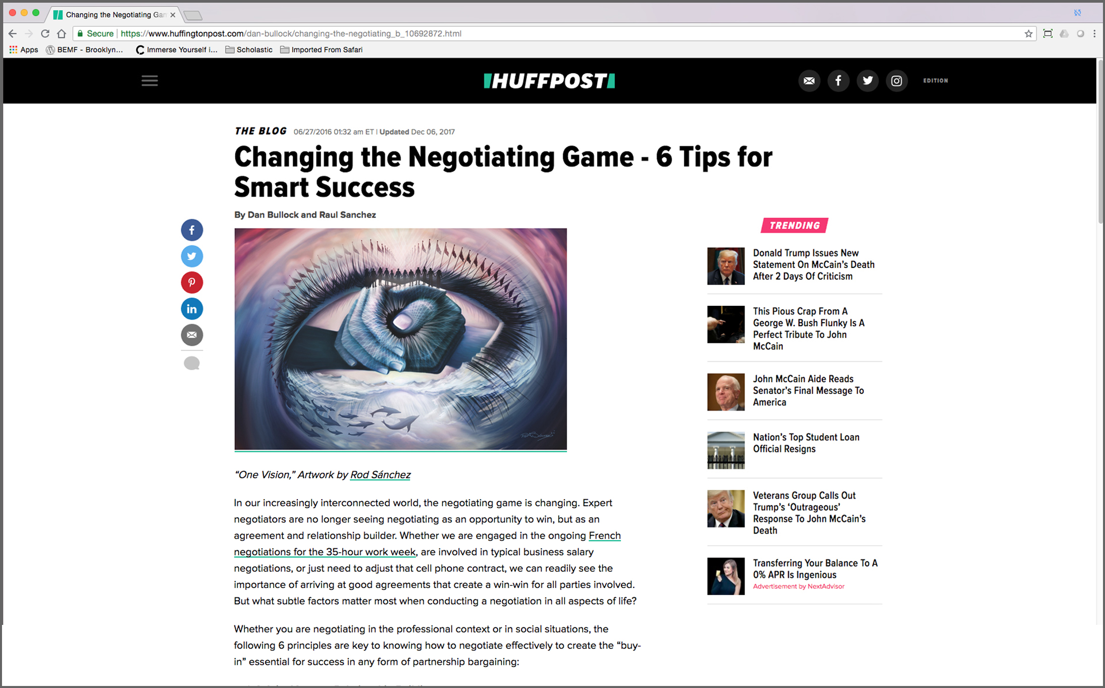 """HuffPost – """"Changing the Negotiating Game – 6 Tips for Smart Success"""""""" Written by Raúl Sánchez Featuring artwork, """"One vision,"""" by Rod Sánchez"""