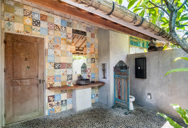 reclaimed cement tiles in open air bath