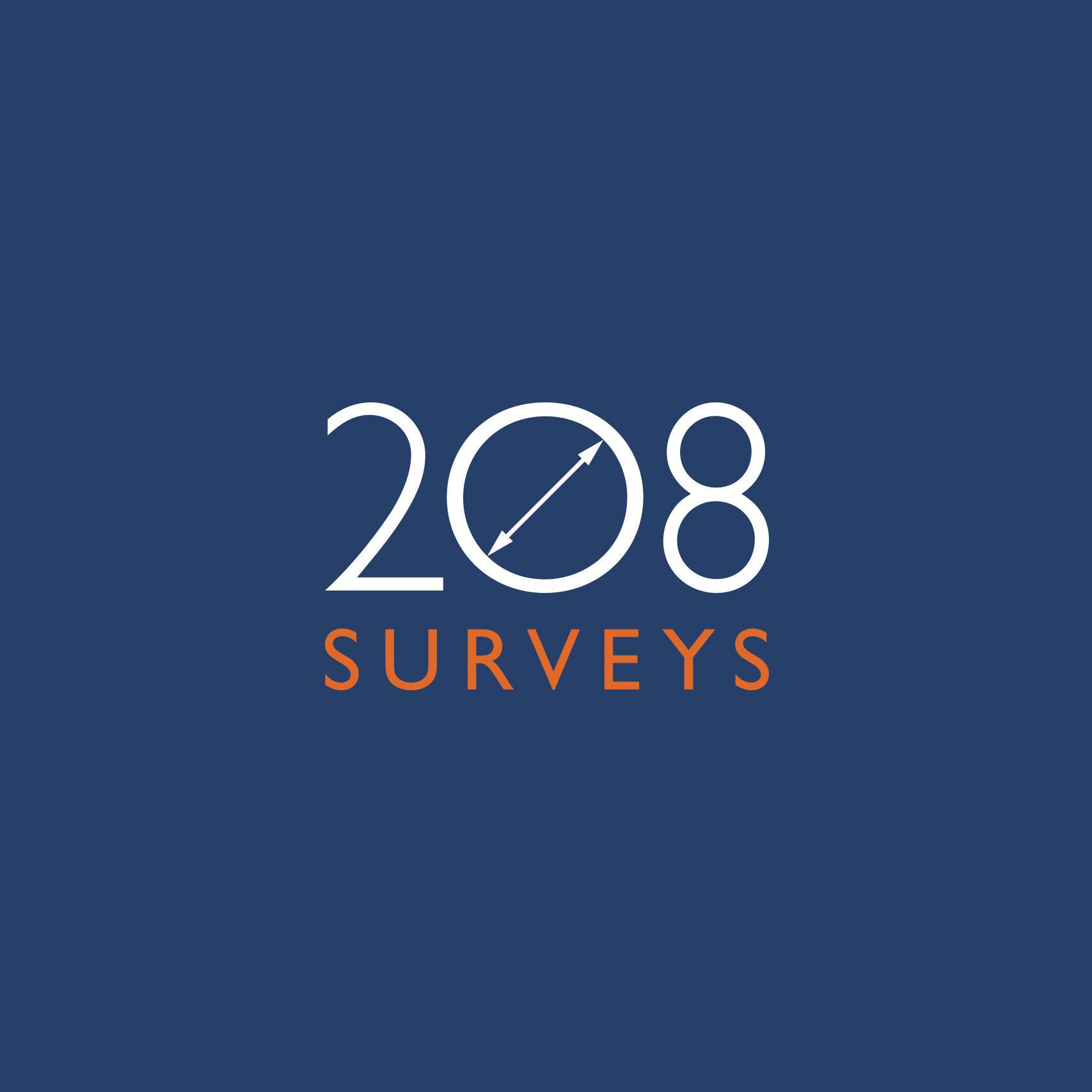 Simple and modern logo design for 208 Surveys London.