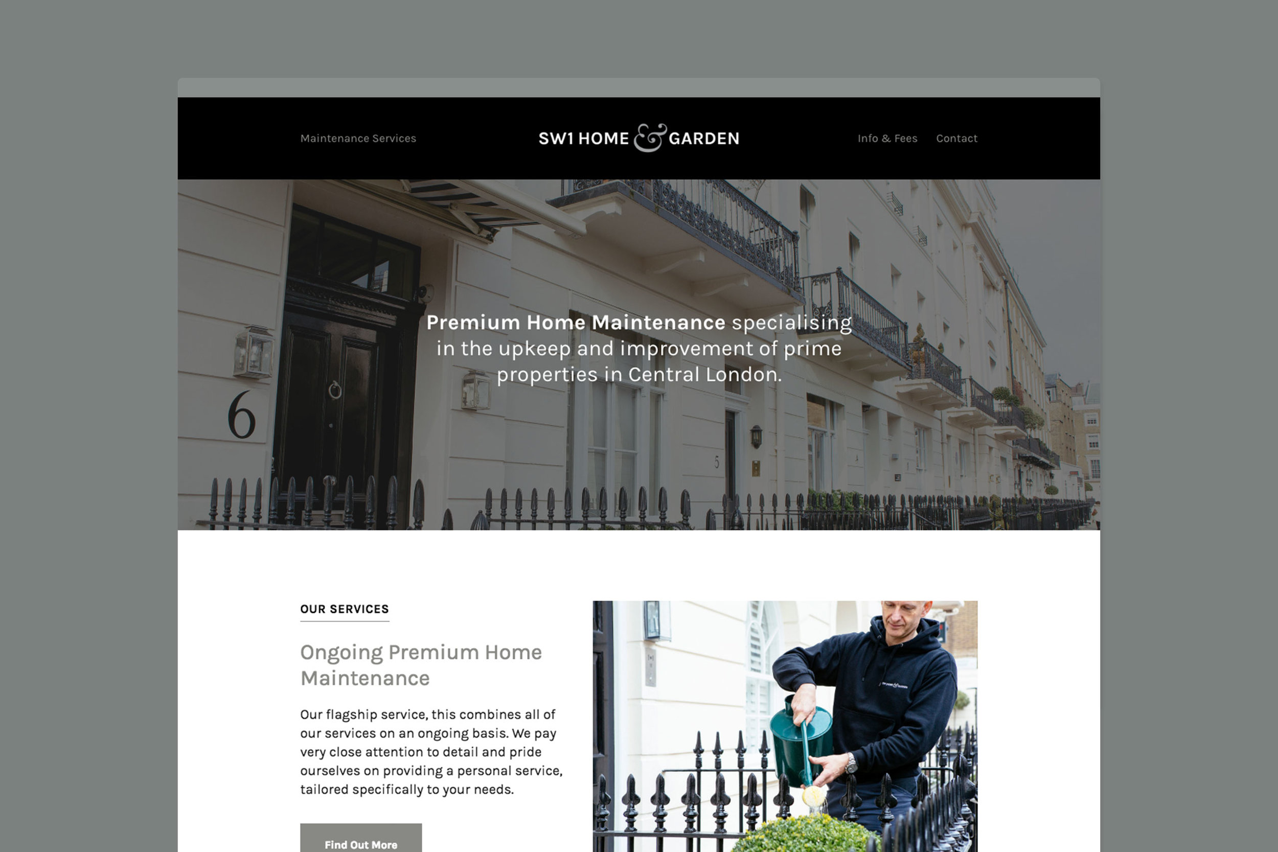 Clean custom web design for SW1 Home & Garden