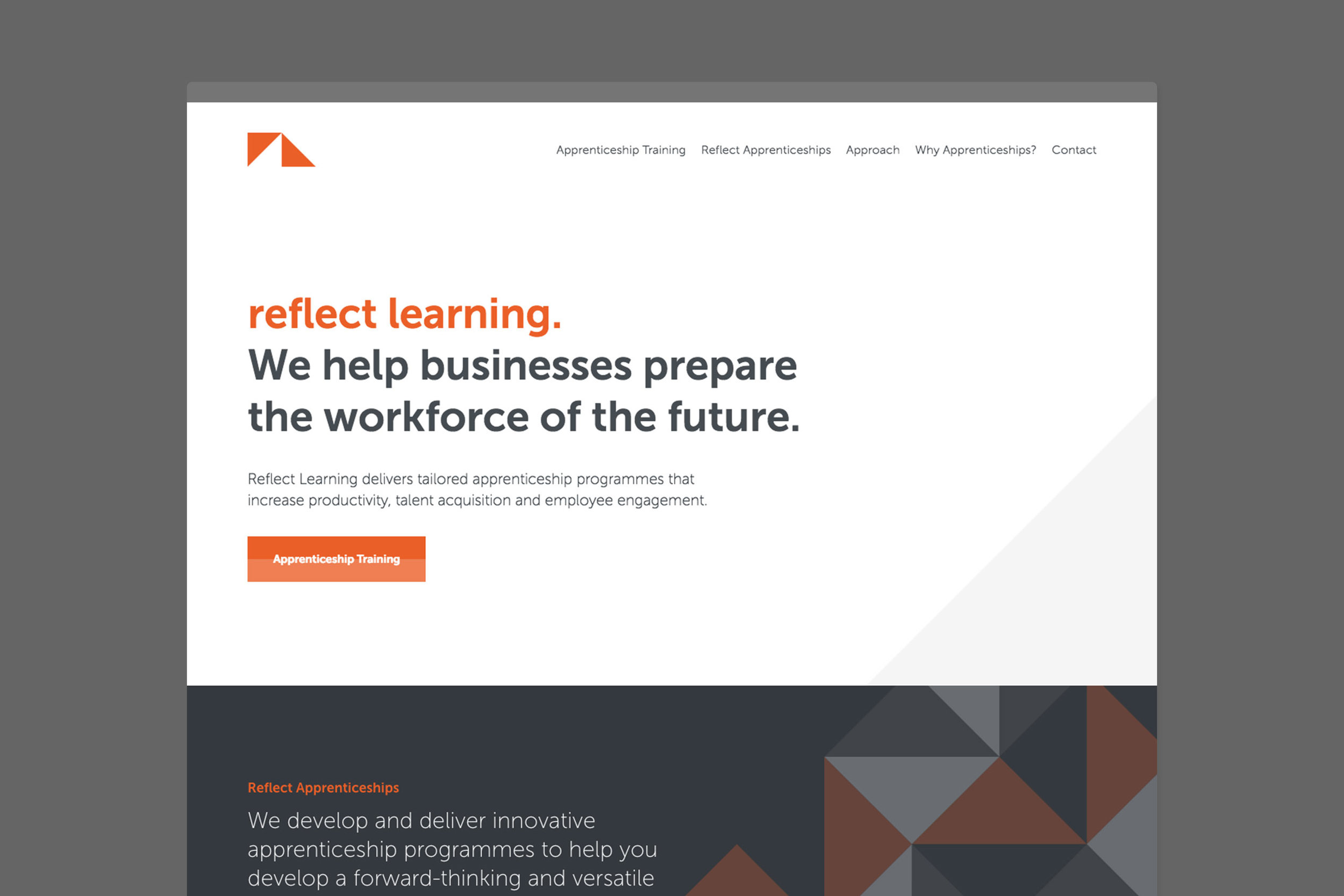 Clean professional web design for Reflect London