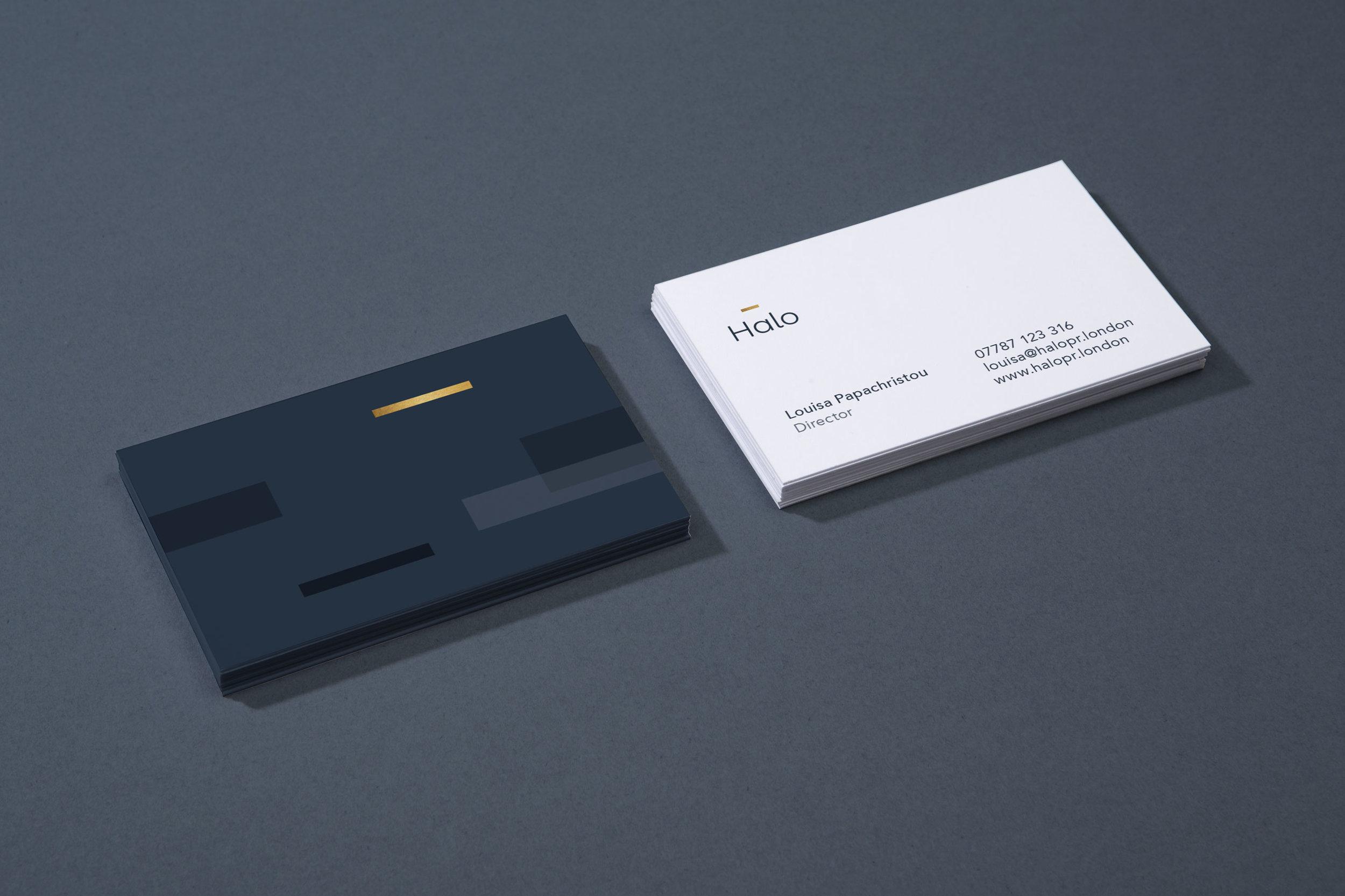 Business card branding design for Halo PR