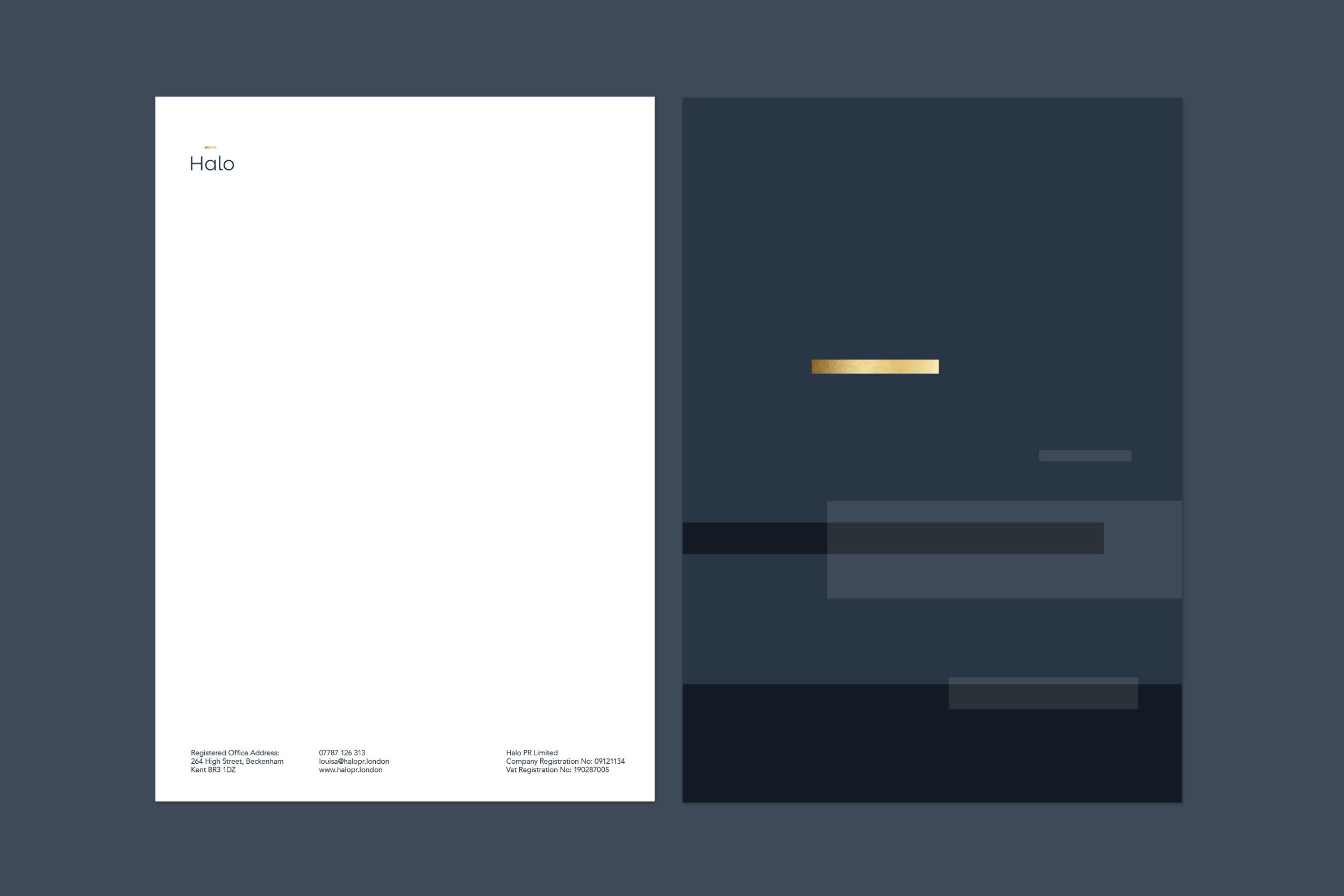 Brand identity for Halo PR London for print