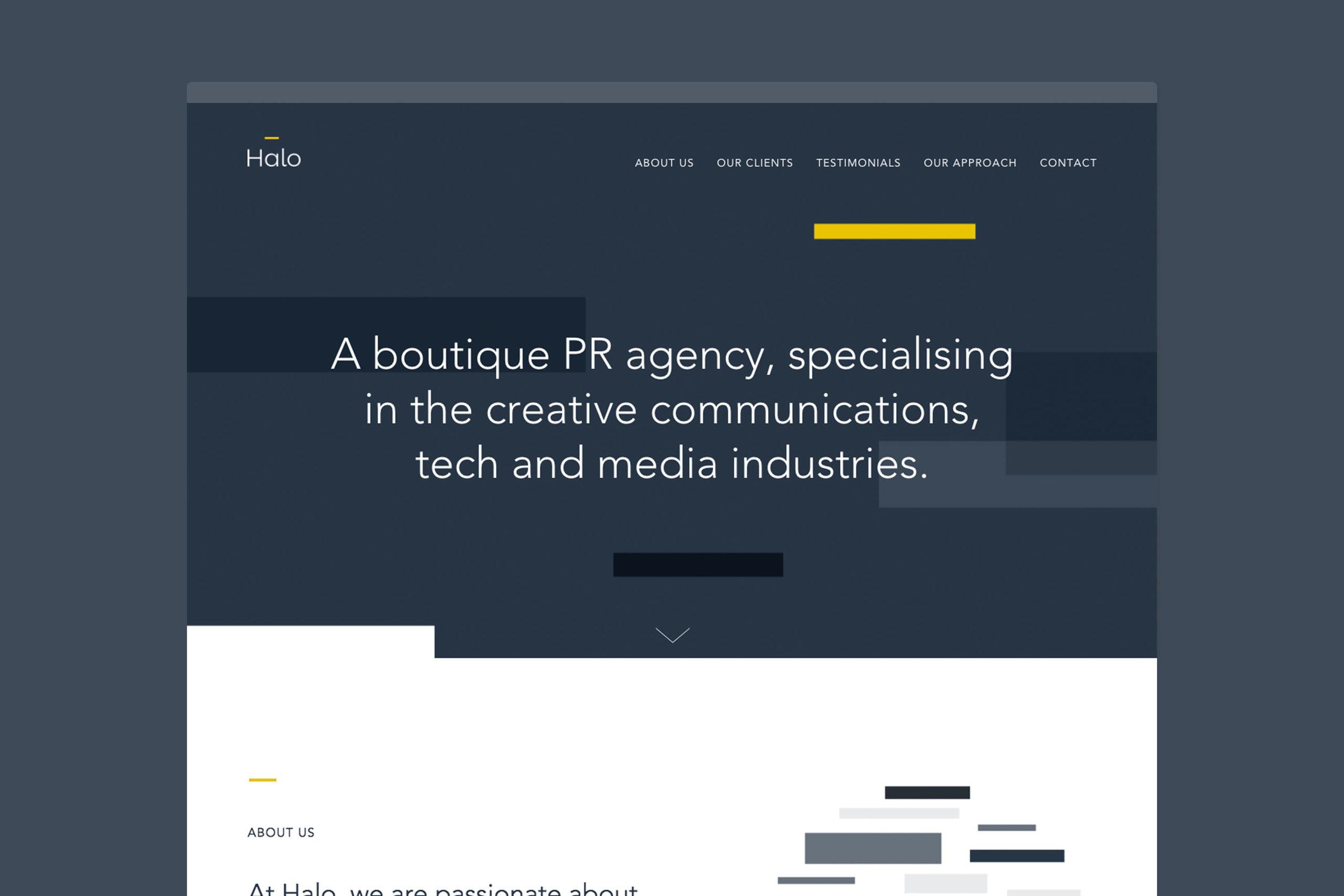 Branding design for Halo PR for web London