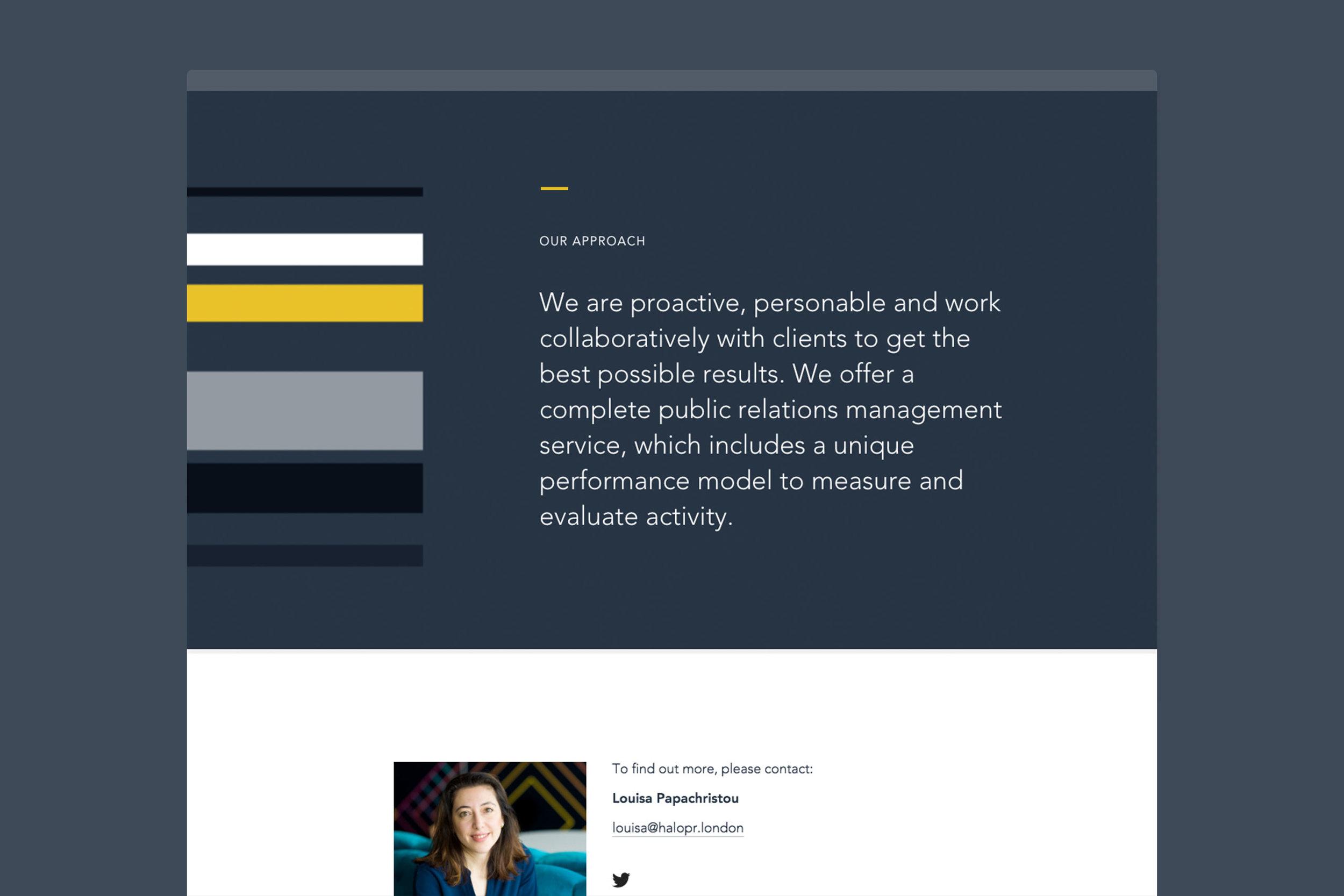 Brand identity for Halo PR for website