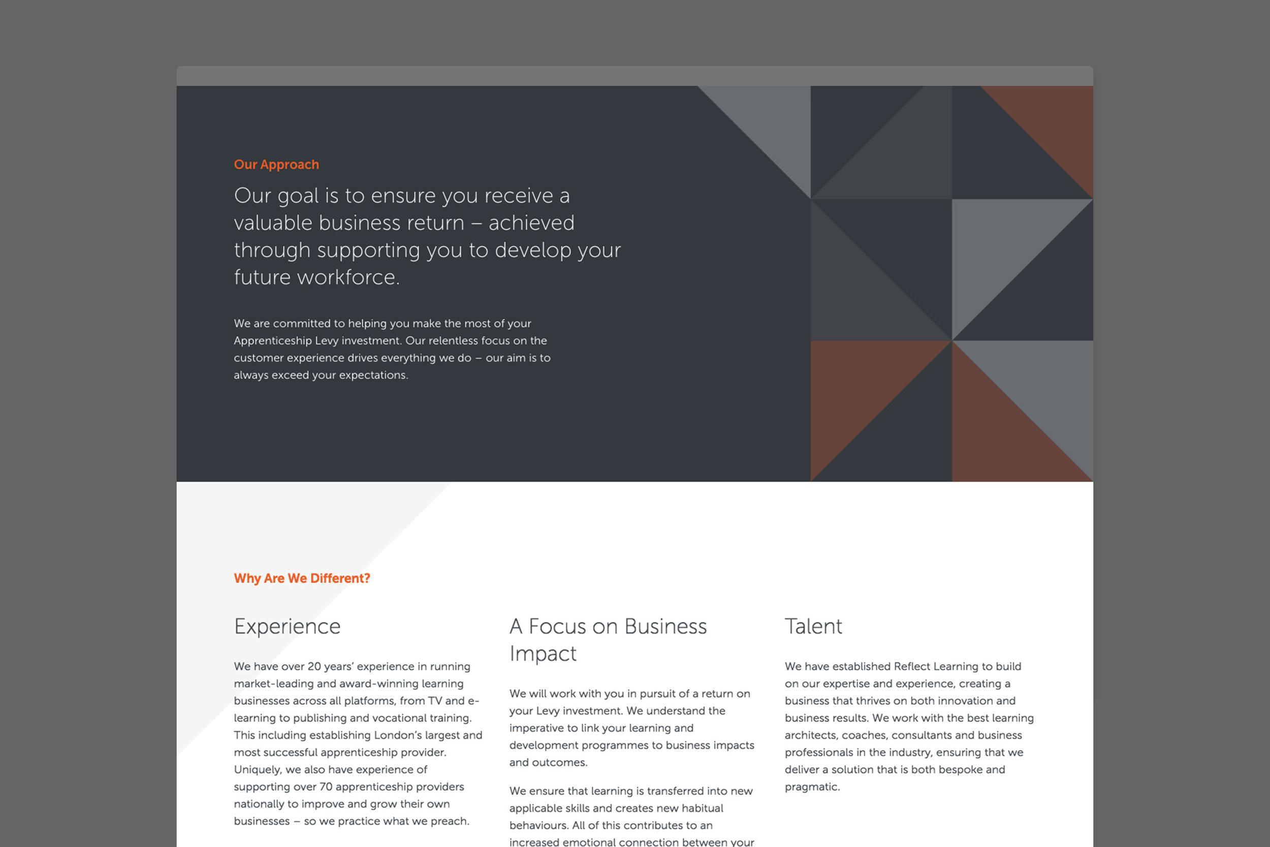Branding design for Reflect Learning for web London