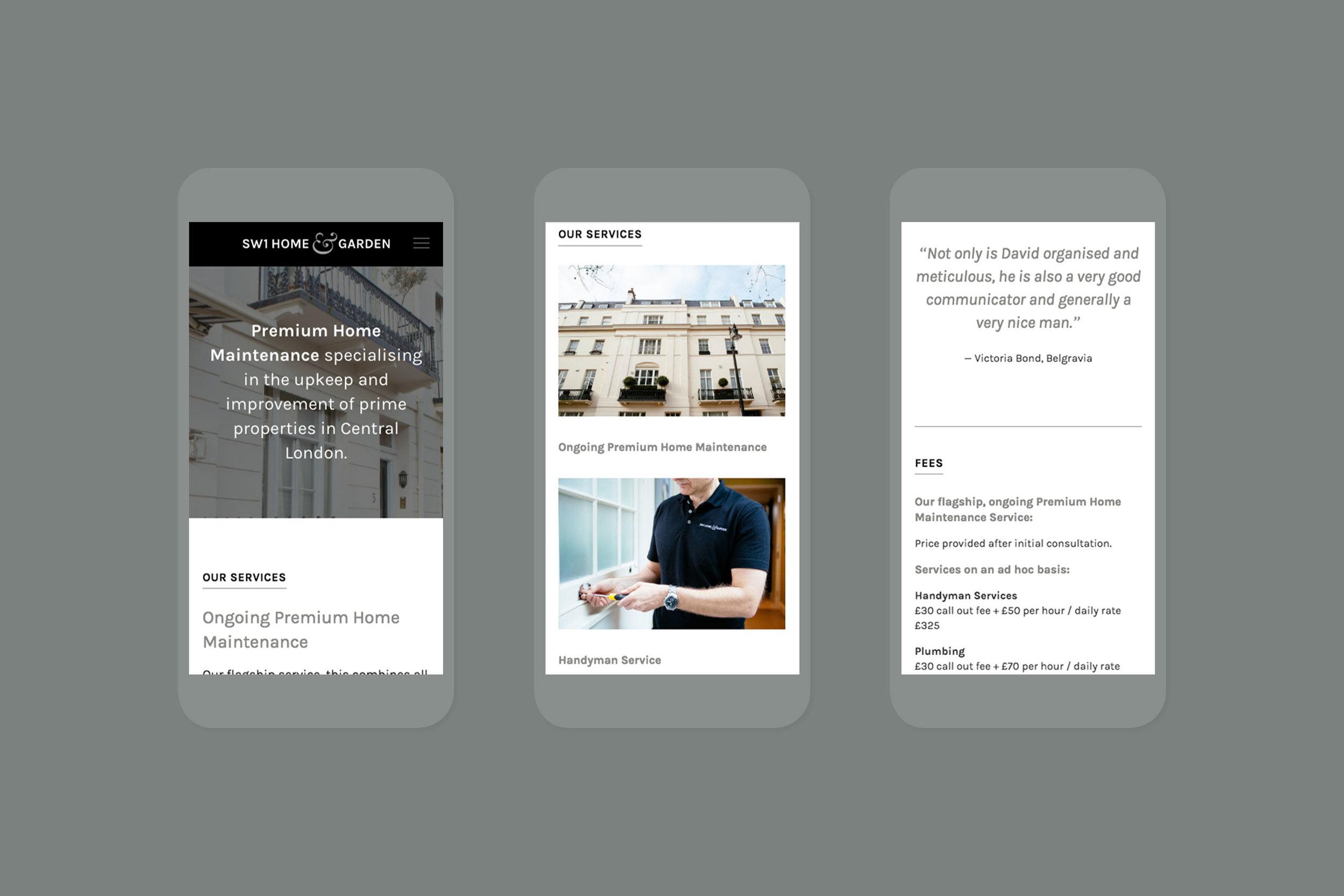 Digital branding design for SW1 Home & Garden London