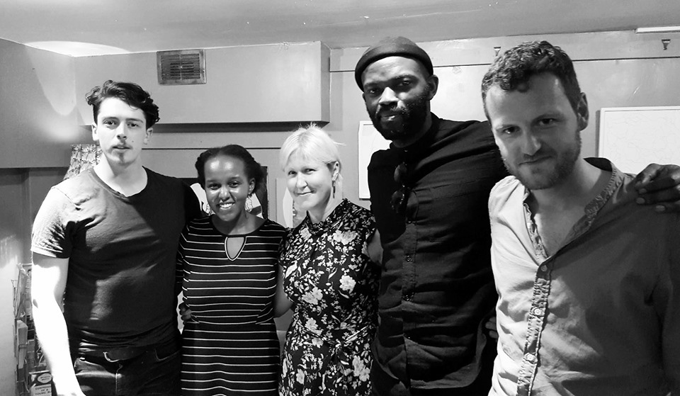 The team (so far): Ciaran John (HE), Linda Wachaga (SHE), Liisa Smith (director), JJ Bola (writer), Daniel Kramb (writer) at the first rehearsed reading of the play at Pages of Hackney
