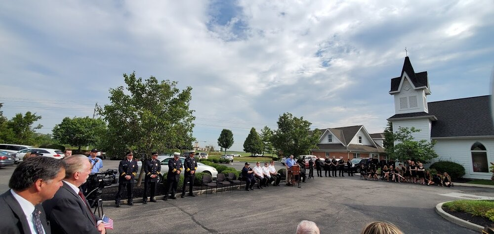 The 9/11 memorial ceremony at Chesterwood Village.