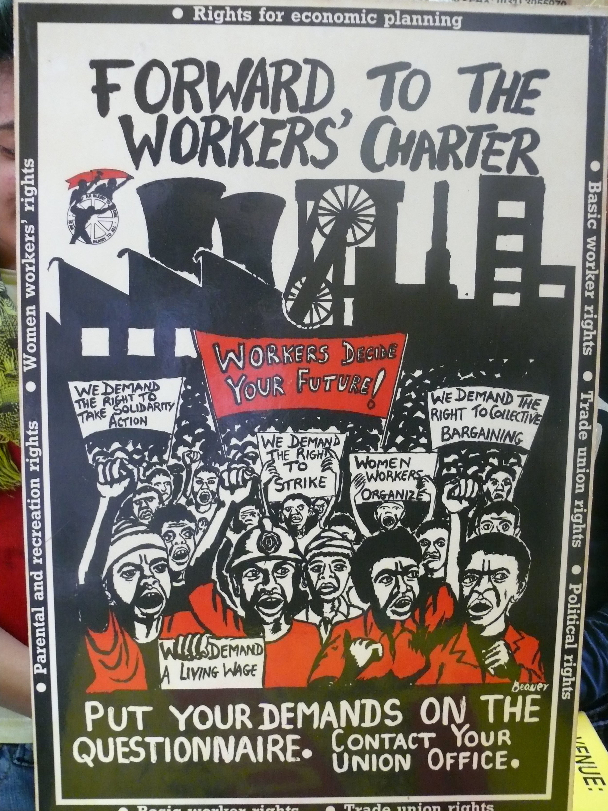 Poster from the Workers' Charter, which Monroe cites as a highlight of his time in the TWIU
