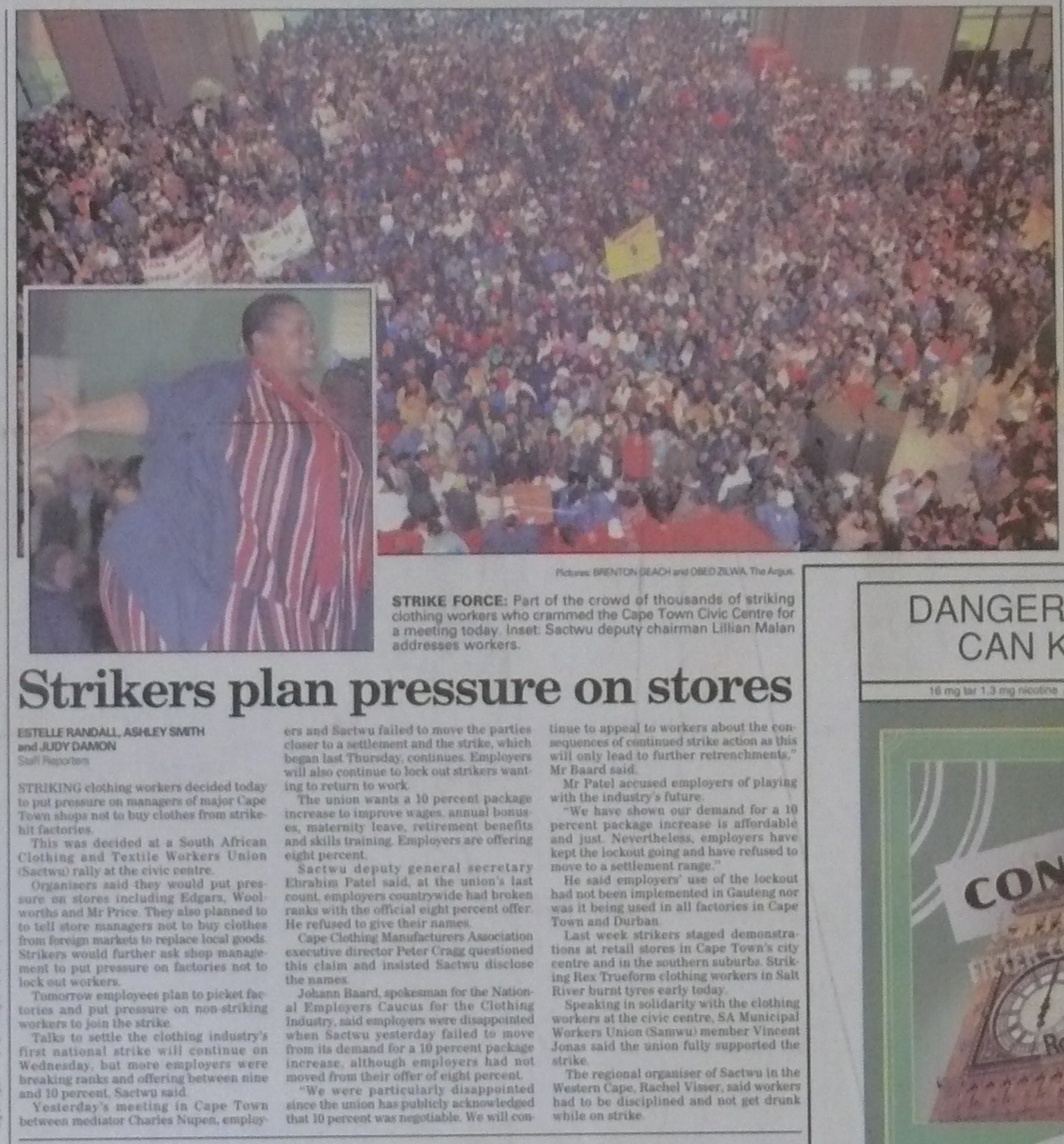 Article published in  The Cape Argus  on July 29, 1996 about the clothing strike featuring Lillian Malan.