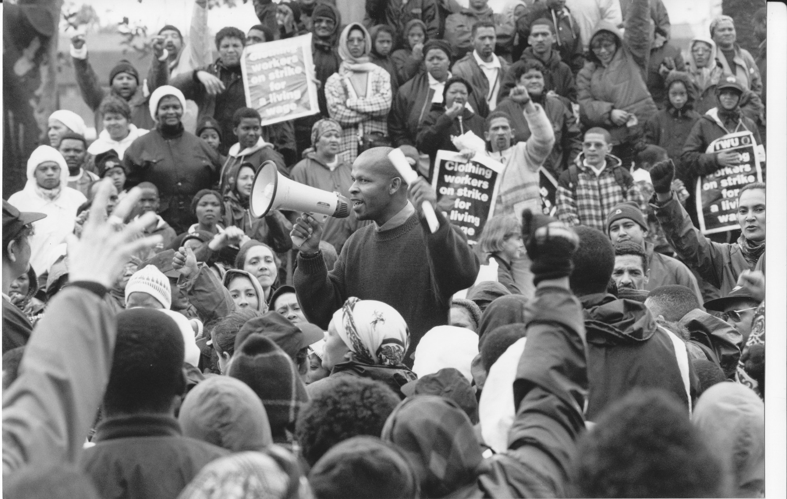 Richard Kawie addresses the crowd during the 1996 Strike.