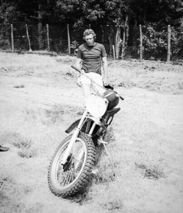 """""""Often the best way to relax is just to go back to work."""" — Steve McQueen ♦️ tonight I begin a """"larger than life"""" 400C Husqvarna that Steve McQueen rode in the Bruce Brown film ON ANY SUNDAY."""