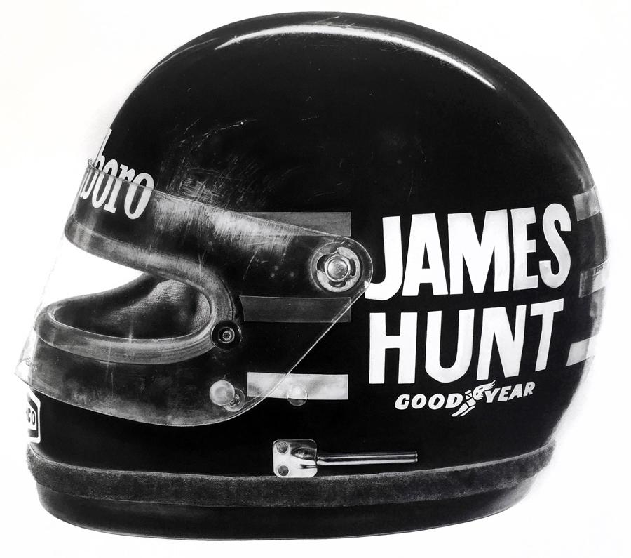 James Hunt 1976 F1 Championship Winning Bell Helmet, 2016. Pencil, charcoal & Gouache on paper (1000mm x 1000mm)