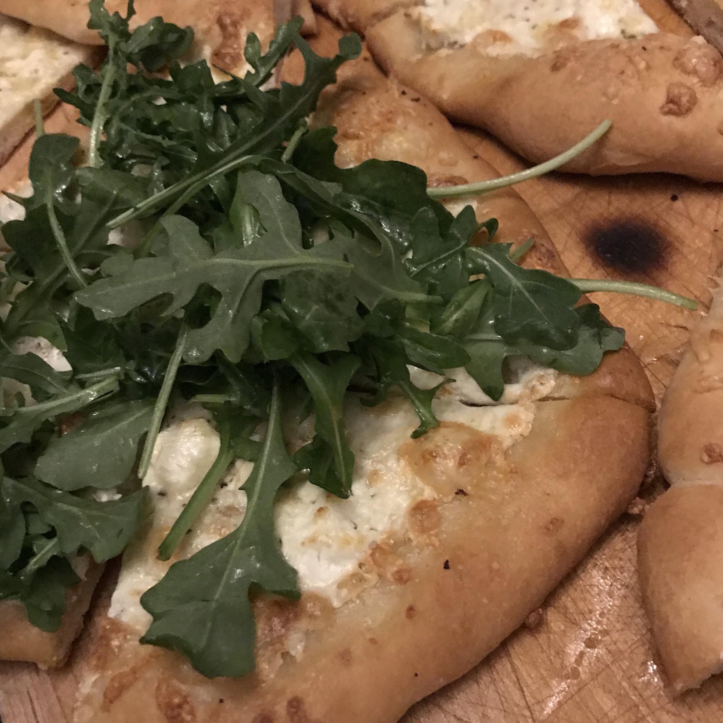 White Pizza with Arugula . Back to Basics . Week 3