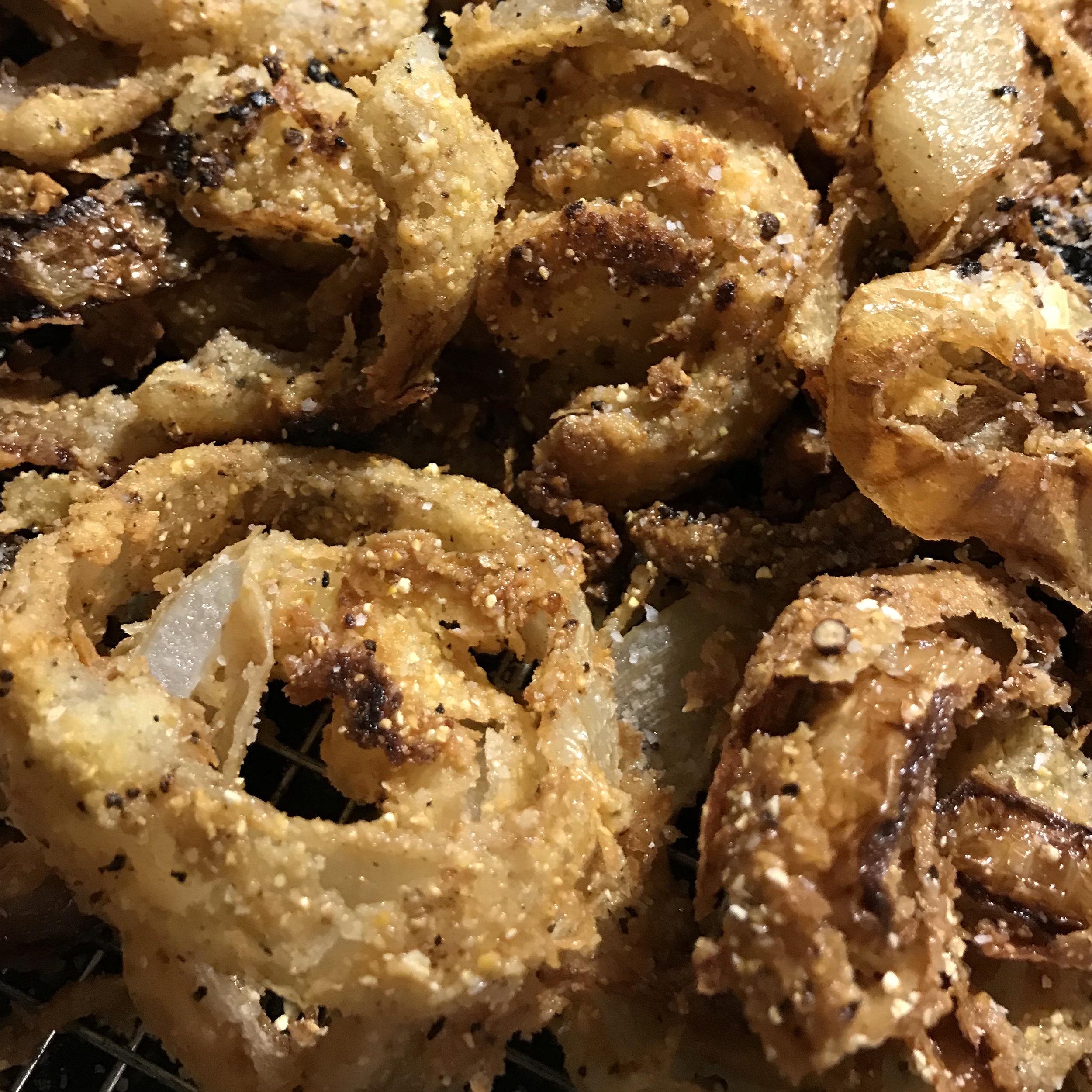 Cornmeal-Fried Onion Rings . At Home . Week 8
