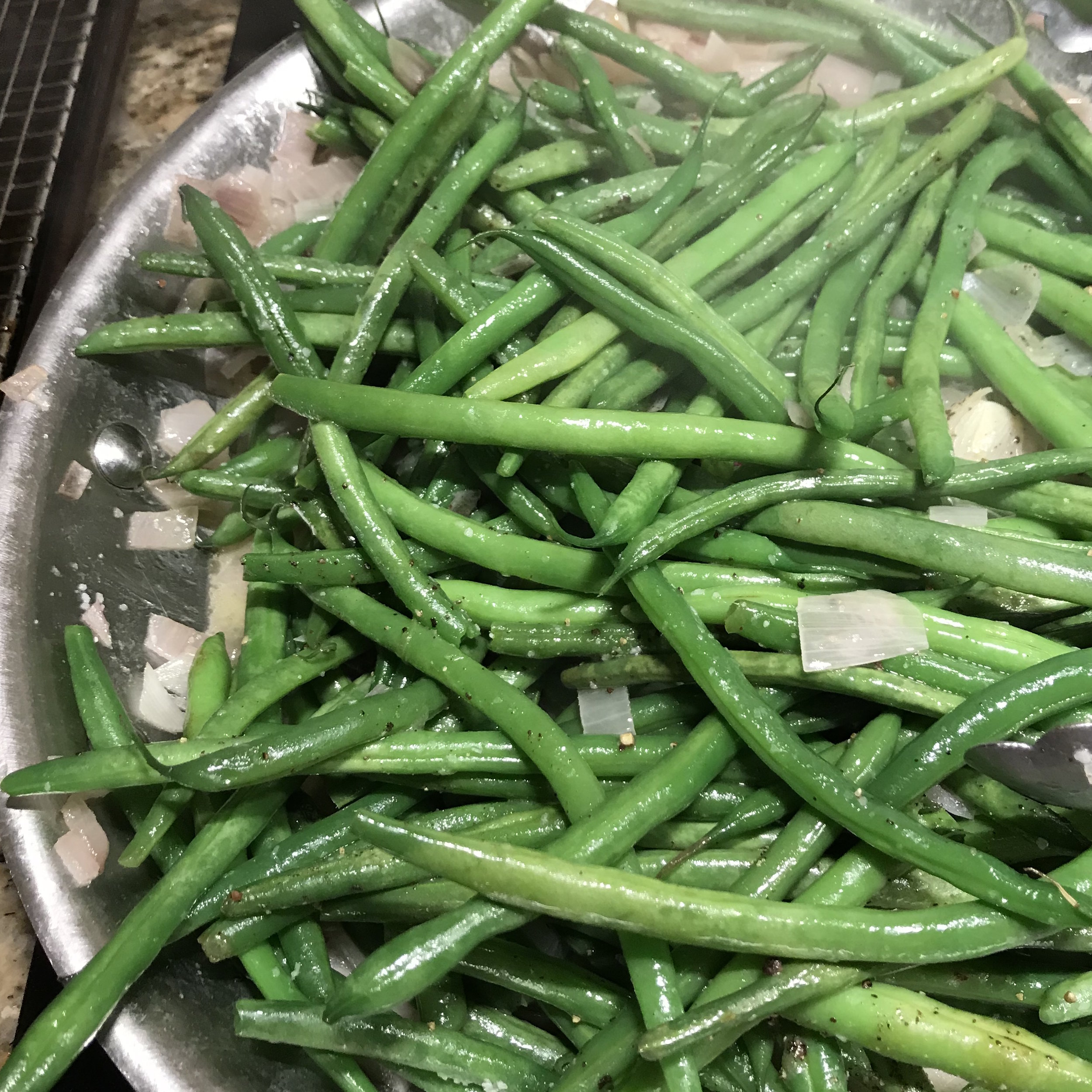 String Beans with Shallots . Family Style . Week 11