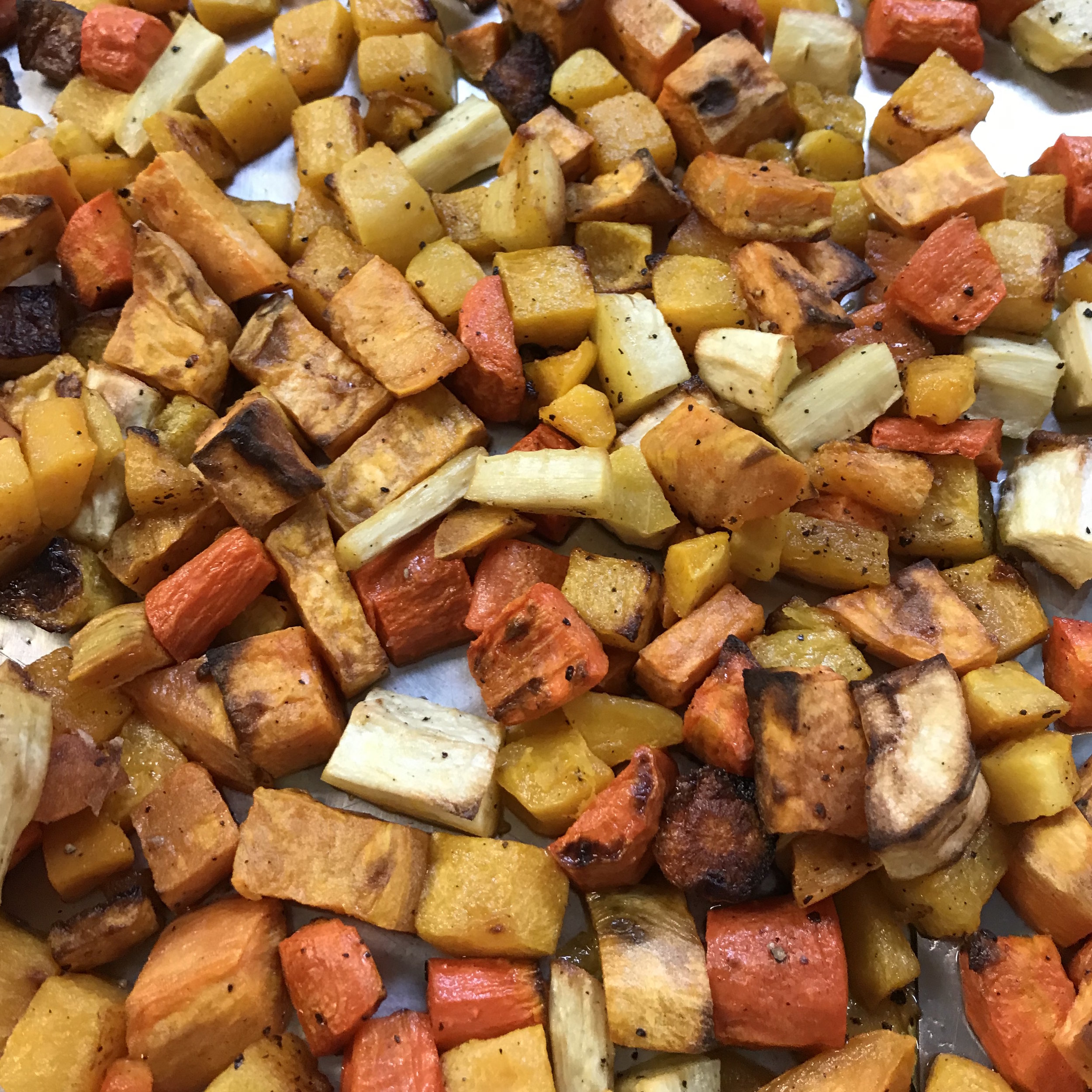 Roasted Winter Vegetables . Family Style . Week 12