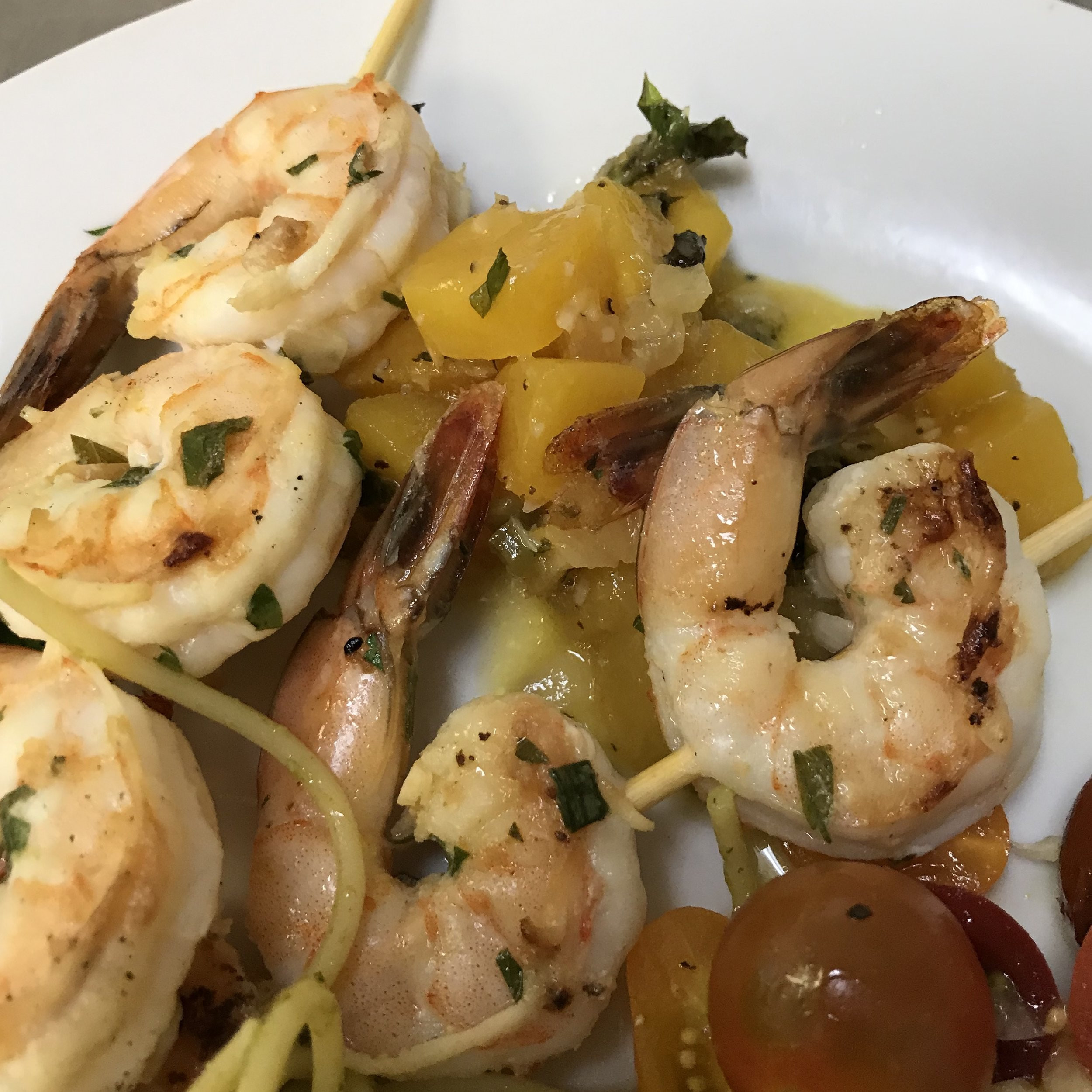 Grilled Herb Shrimp with Mango Salsa . Barefoot Contessa Parties! . Week 37