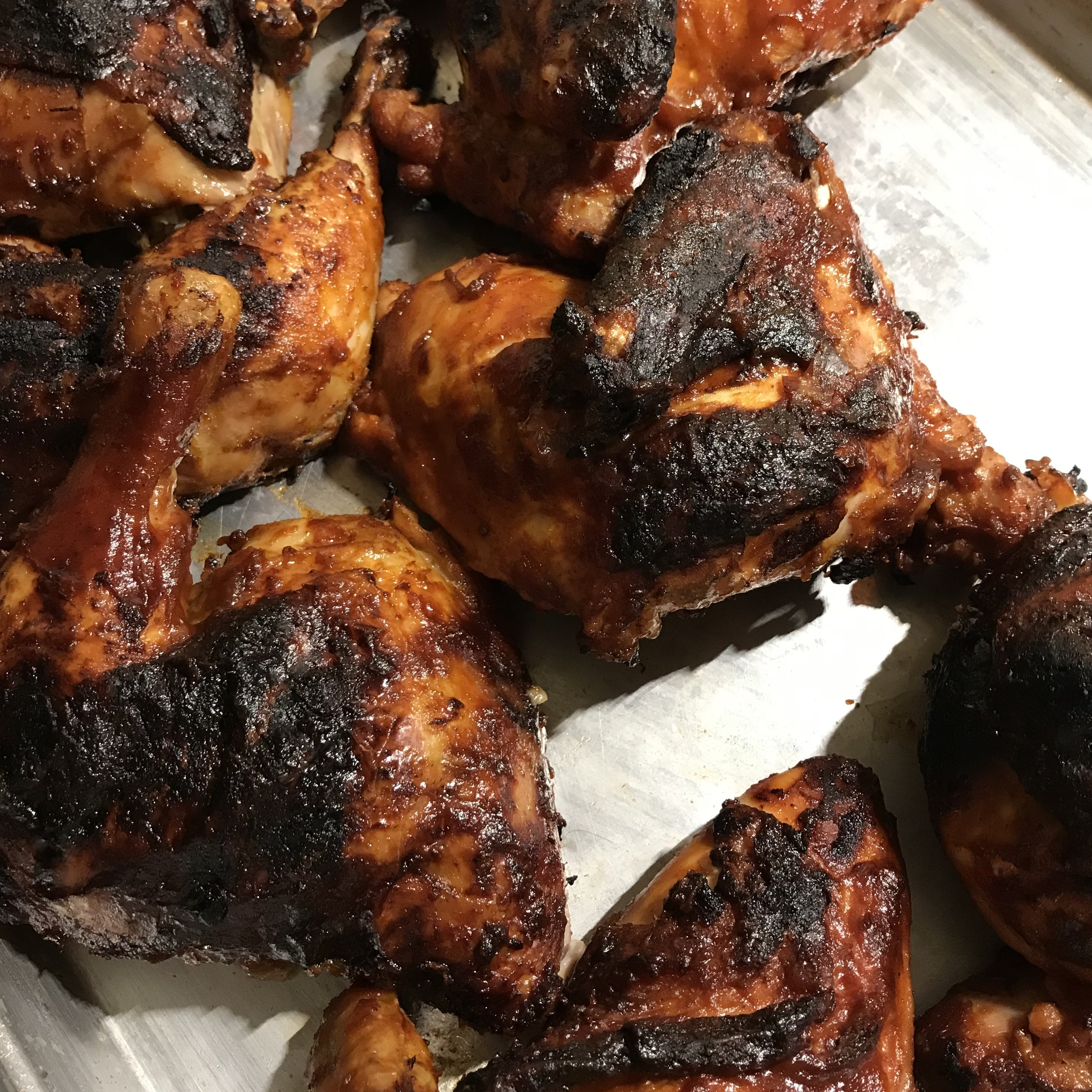 Barbecued Chicken with Barbecue Sauce . Barefoot Contessa Cookbook . Week 39