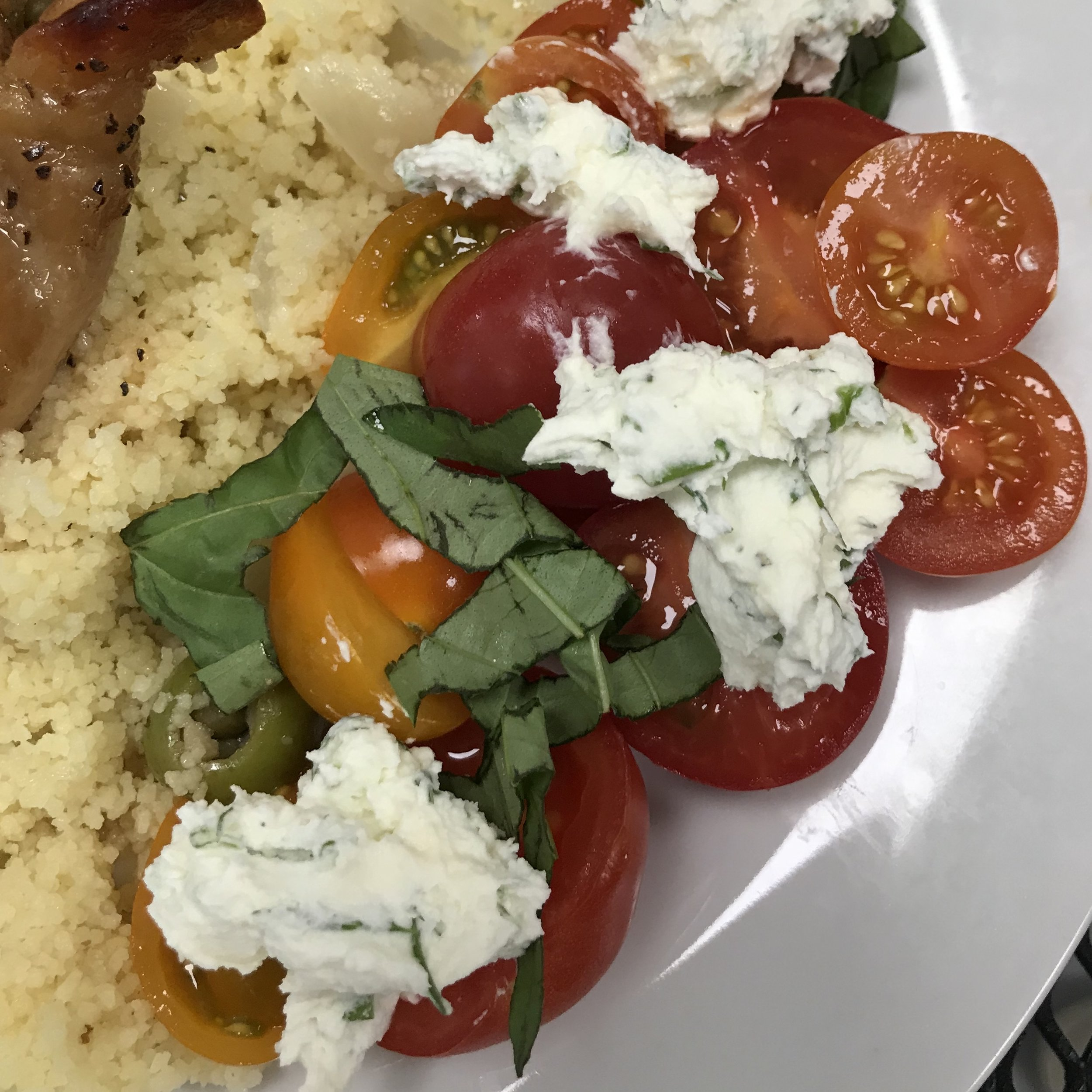 Heirloom Tomatoes with Herbed Ricotta . Cook Like A Pro . Week 47