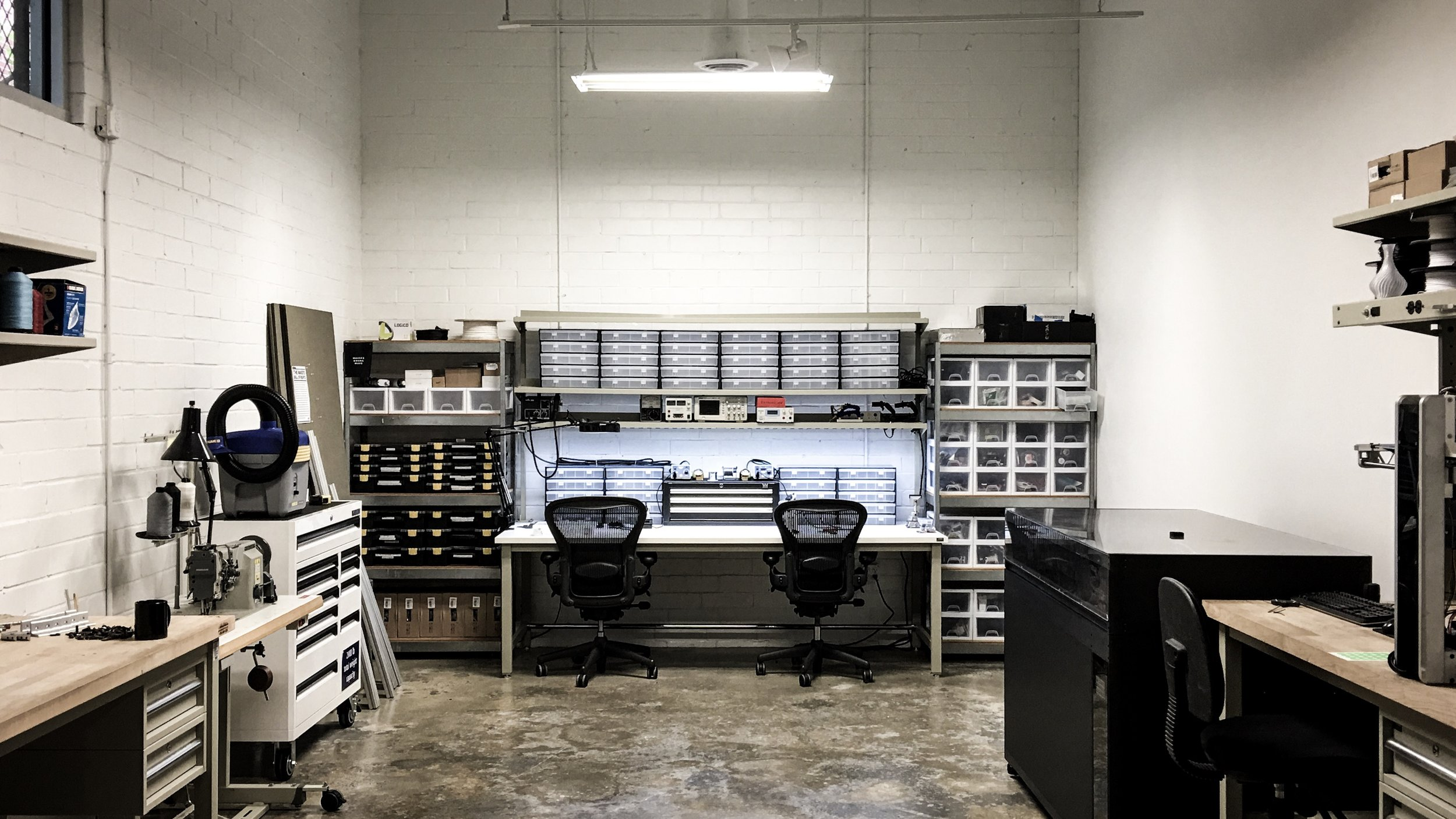 Digital Fabrication Lab - Equipped with soldering stations, diagnostic tools, a PCB reflow oven, and two large format 3D printers, our Digital Fabrication Lab allows us to quickly explore electromechanical designs and interactive prototypes.