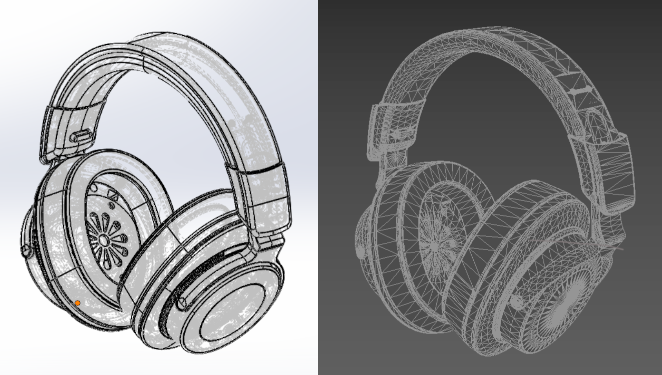 On the left, a CAD model in Solidworks. On the right, the same design but imported as a mesh into 3ds Max. Note all the triangulations on the mesh.
