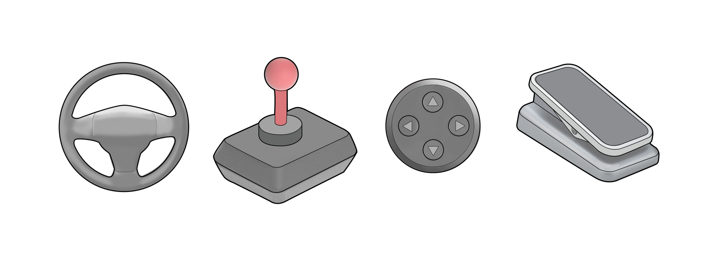 Examples of different physical controls that we custom integrate into the virtual experience.