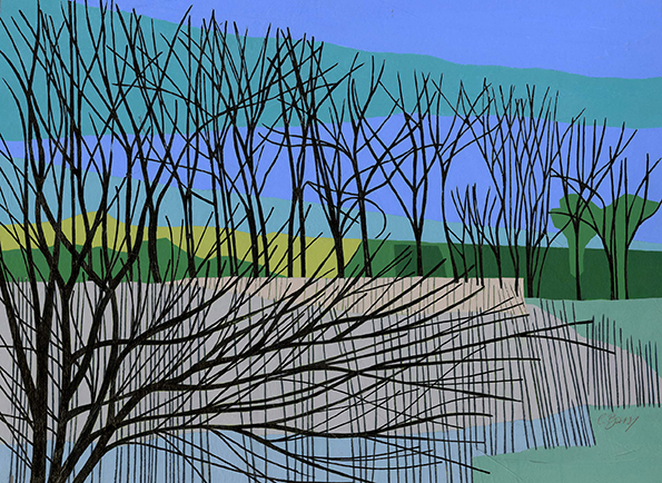 Reeds at Wilstone  Reed beds at Wilstone Reservoir. Original acrylic, ink and mixed media painting Framed size: 48cm high x 58cm wide Also available as signed, limited edition, giclee prints Near full size print: 47cm high x 55cm wide
