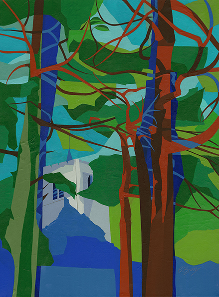 Church tower, Tring  A view of the tower of St Peter & St Paul Church, looking up through the trees from Frogmore Street car park. Original acrylic and mixed media painting on canvas Canvas size: 61cm high x 45.5cm wide Also available as signed, limited edition, giclee prints, full size or reduced size Mounted, reduced size print: 57.5cm high x 45cm wide