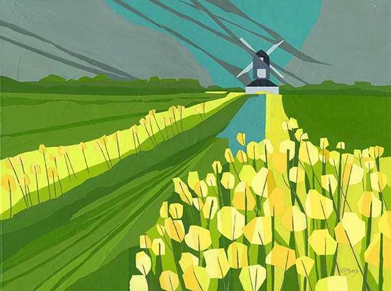 Pitstone Windmill  Rape flowers along the path to the windmill inspired this composition. Original acrylic and mixed media painting on canvas Canvas size: 45.5cm high x 61cm wide Original sold but available as signed, limited edition, giclee prints, full size or reduced size Mounted, reduced size print: 47.5cm high x 55cm wide