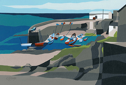 Harbour wall, Coverack (Cornwall)  A view of the outstretched, protective harbour wall at Coverack on The Lizard in Cornwall.  Original acrylic, ink and mixed media painting Framed size: 33cm high x 43cm wide  Original sold but available as signed, limited edition, giclee print Mounted, full size print: 39cm high x 45cm wide
