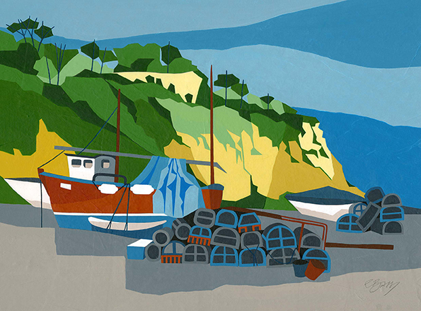 Beer Beach, Devon  The dramatic cliffs at Beer in Devon form the backdrop to this painting of boats and lobster pots.  Original acrylic, ink and mixed media painting Framed size: 43cm high x 53cm wide  Original sold but available as signed, limited edition, giclee print Mounted, near full size print: 47cm high x 55cm wide